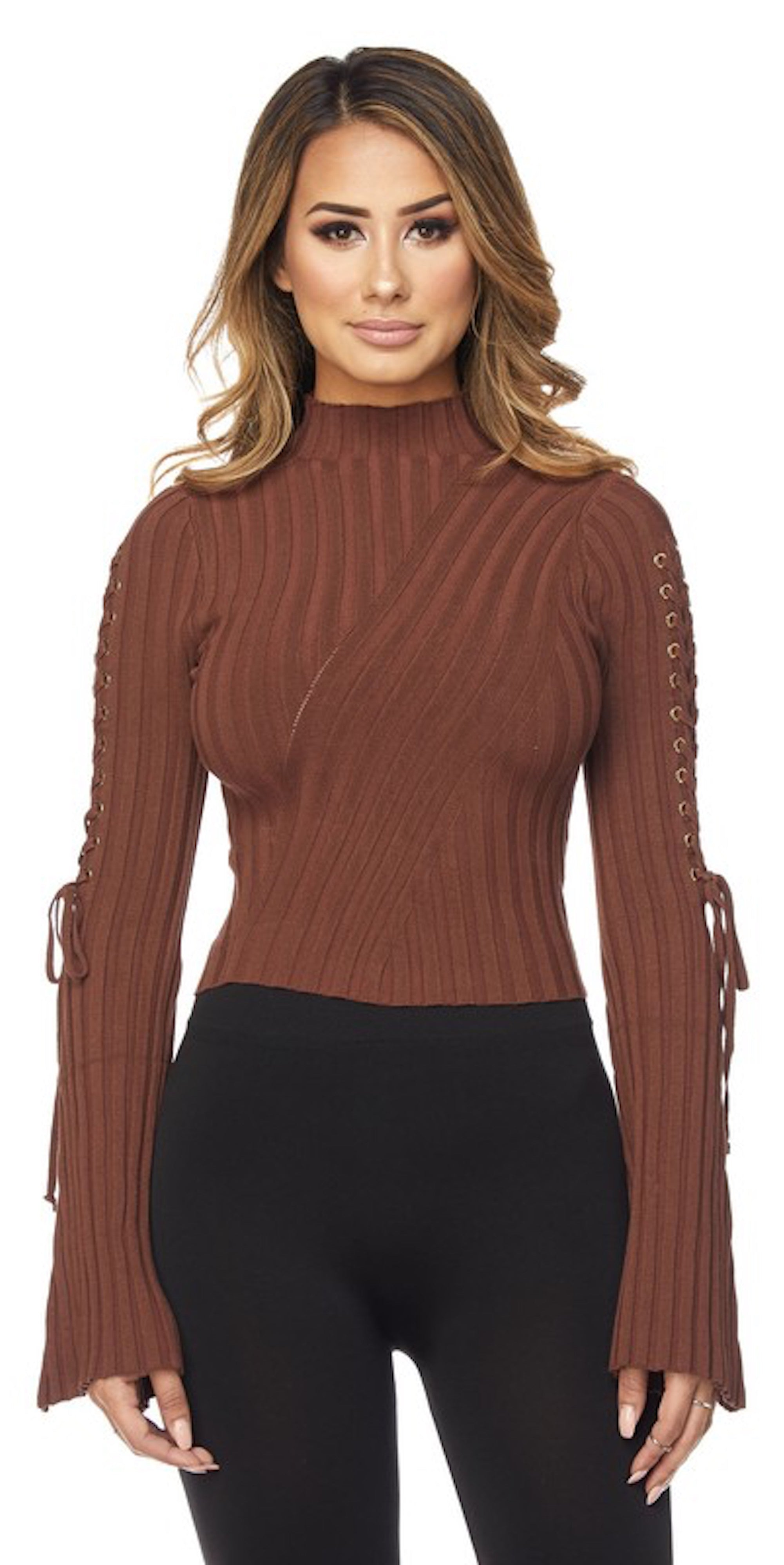 long sleeve lace up bell sleeve chocolate brown top fall knit fashion trend style clothes clothing
