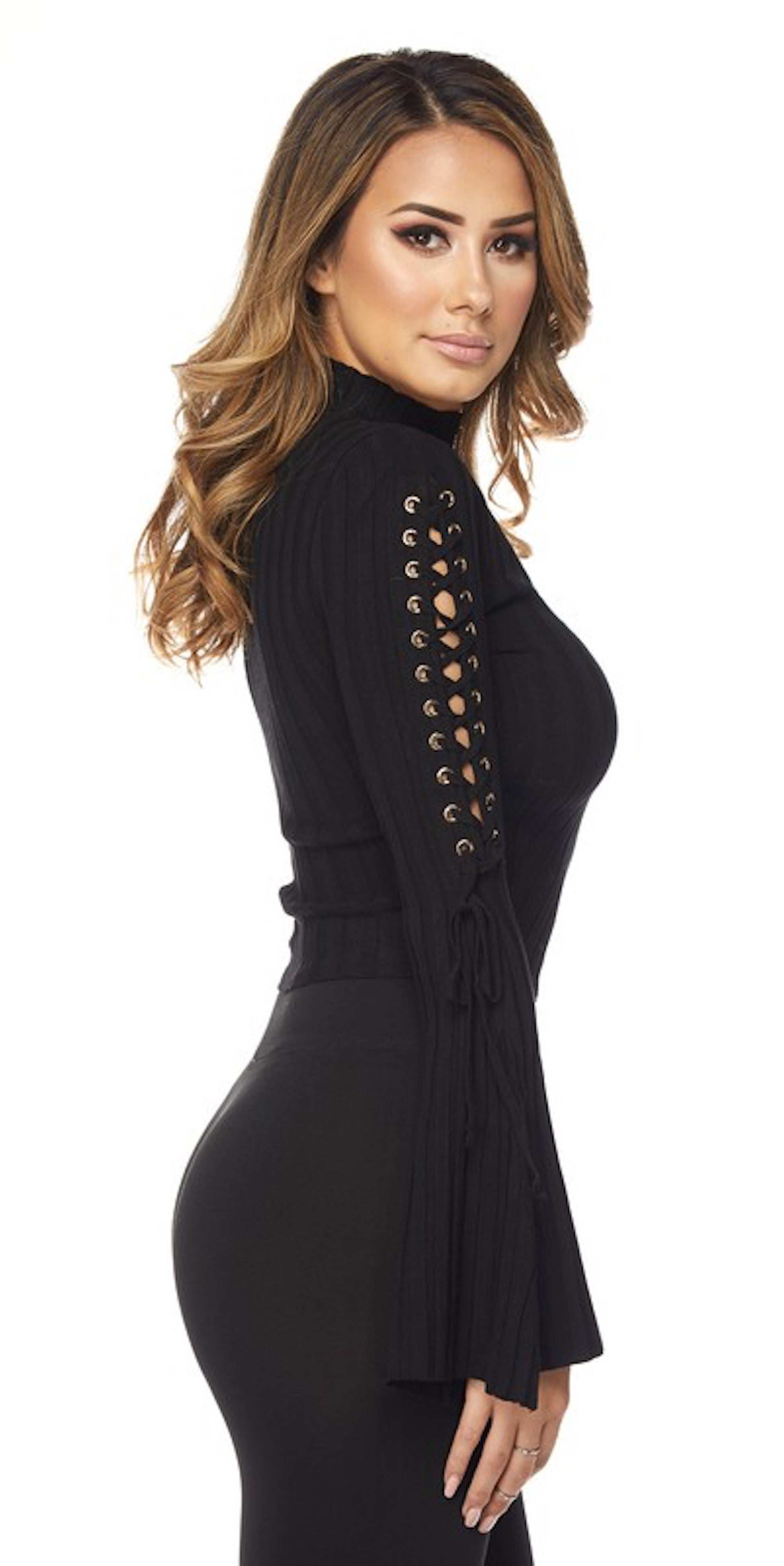 Black Bell Sleeve Lace Up Top