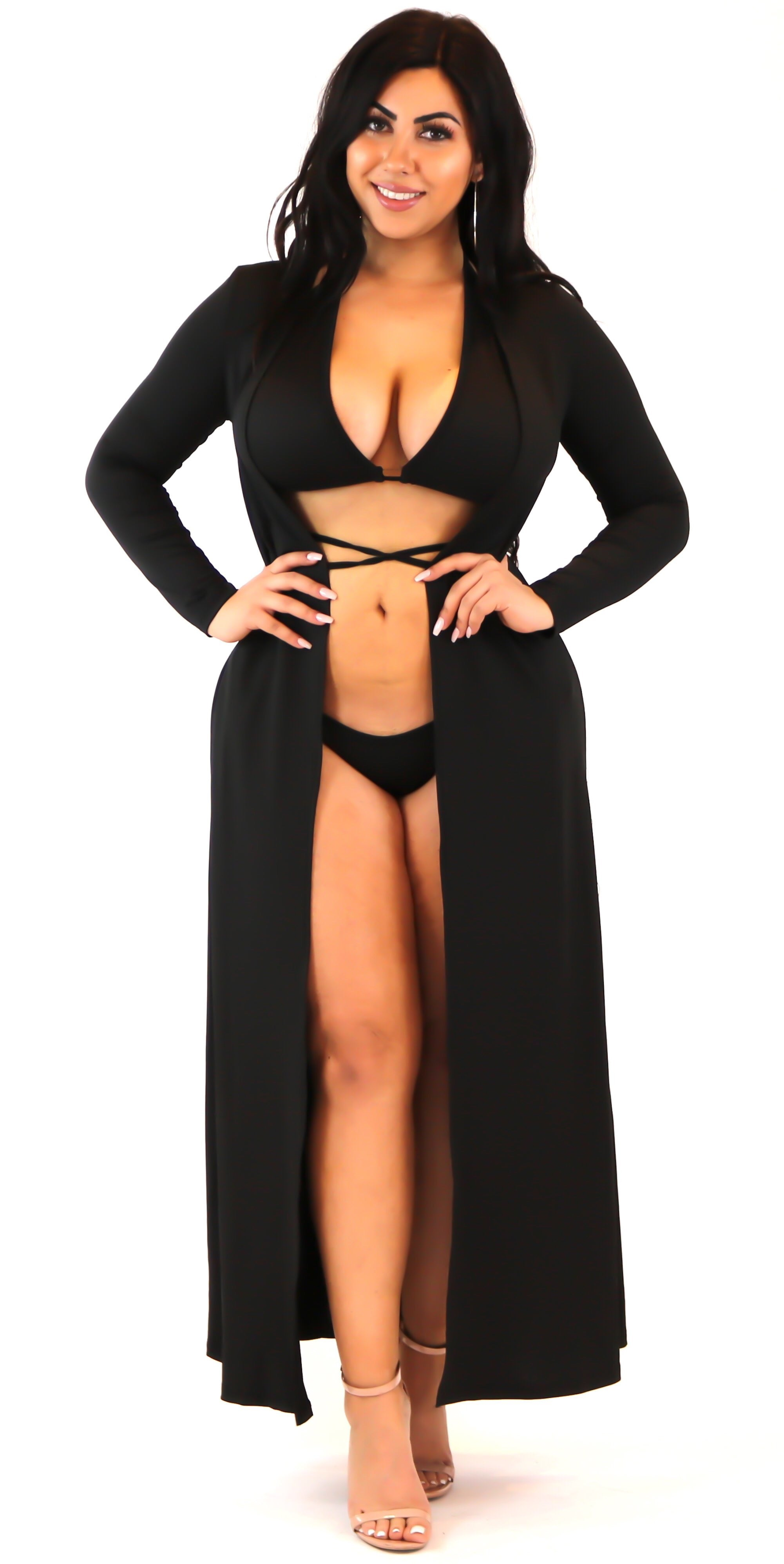black tie up swimsuit bathing suit cover up bikini criss cross set 3 piece fashion clothes clothing trend style
