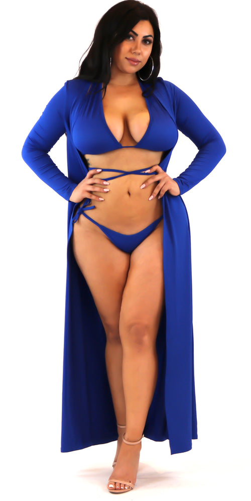 blue tie up swimsuit bathing suit cover up bikini criss cross set 3 piece fashion clothes clothing trend style