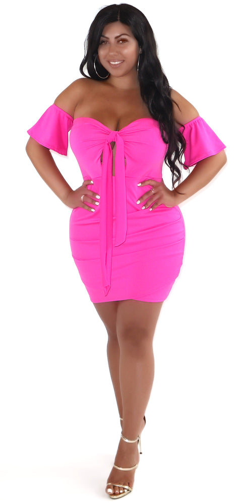 Pink Sweetheart Tie Up Dress
