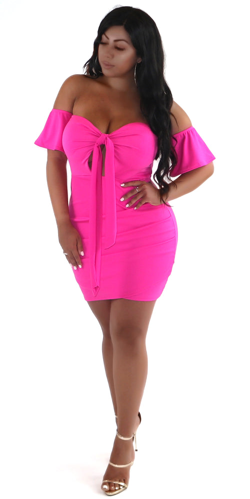 pink off shoulder tie up dress trends style fashion clothes clothing