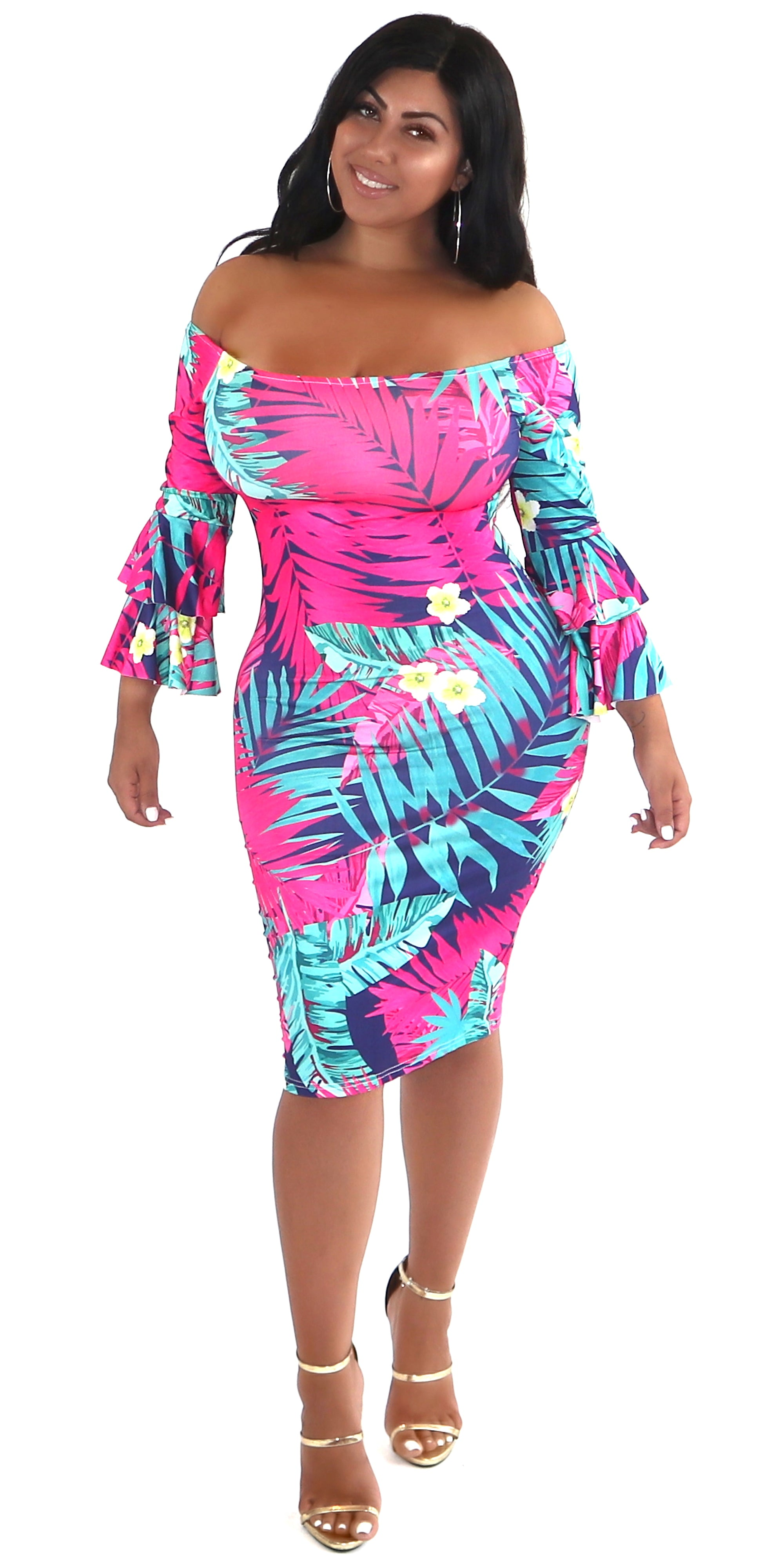 Tropical Print Frill Sleeve Dress