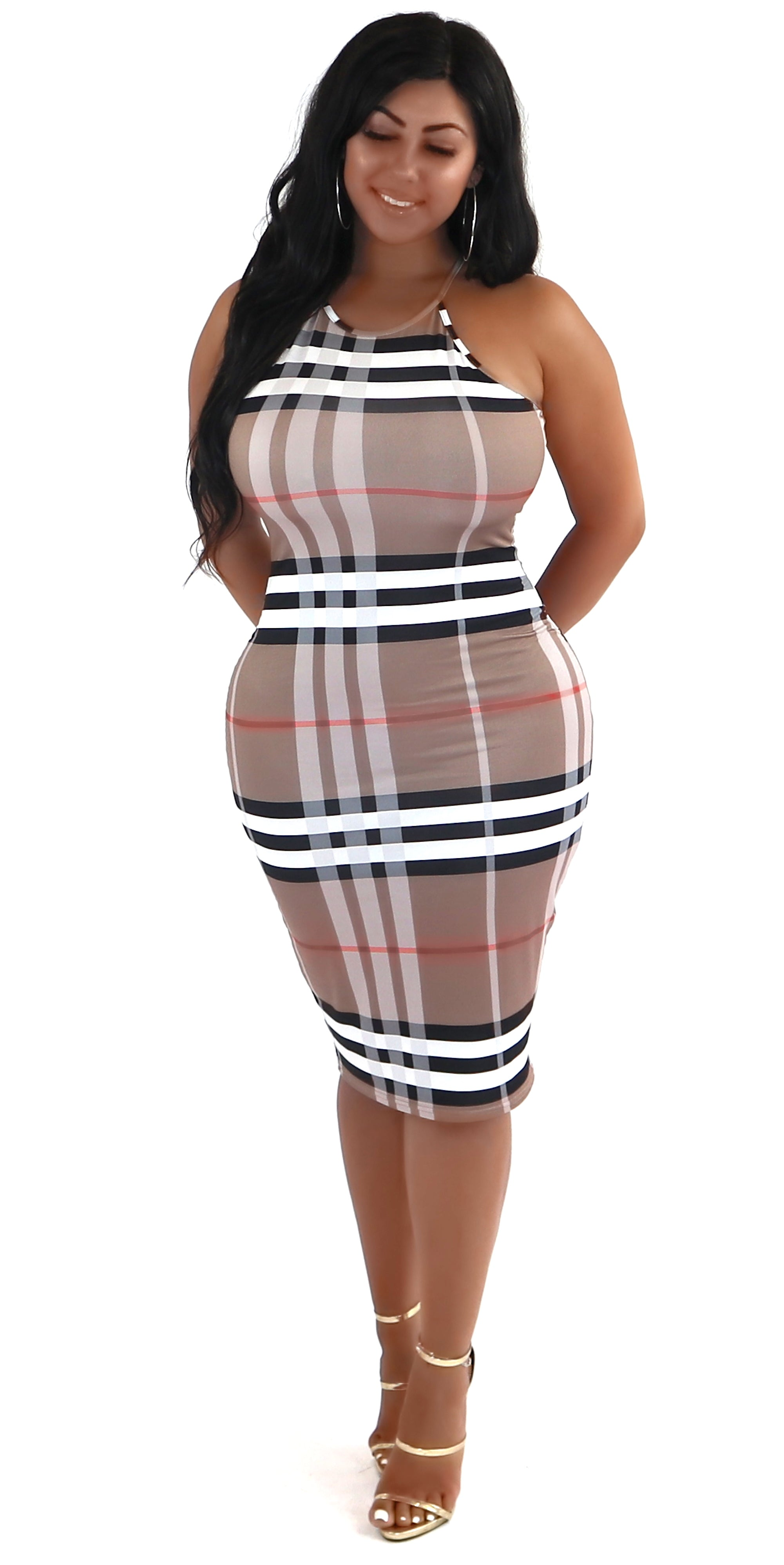 plaid midi dress spaghetti straps fashion trends clothes clothing styles