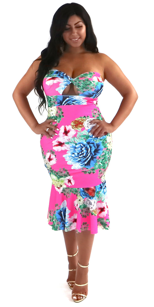 strapless midi mermaid pink floral dress fashion trends clothes clothing styles