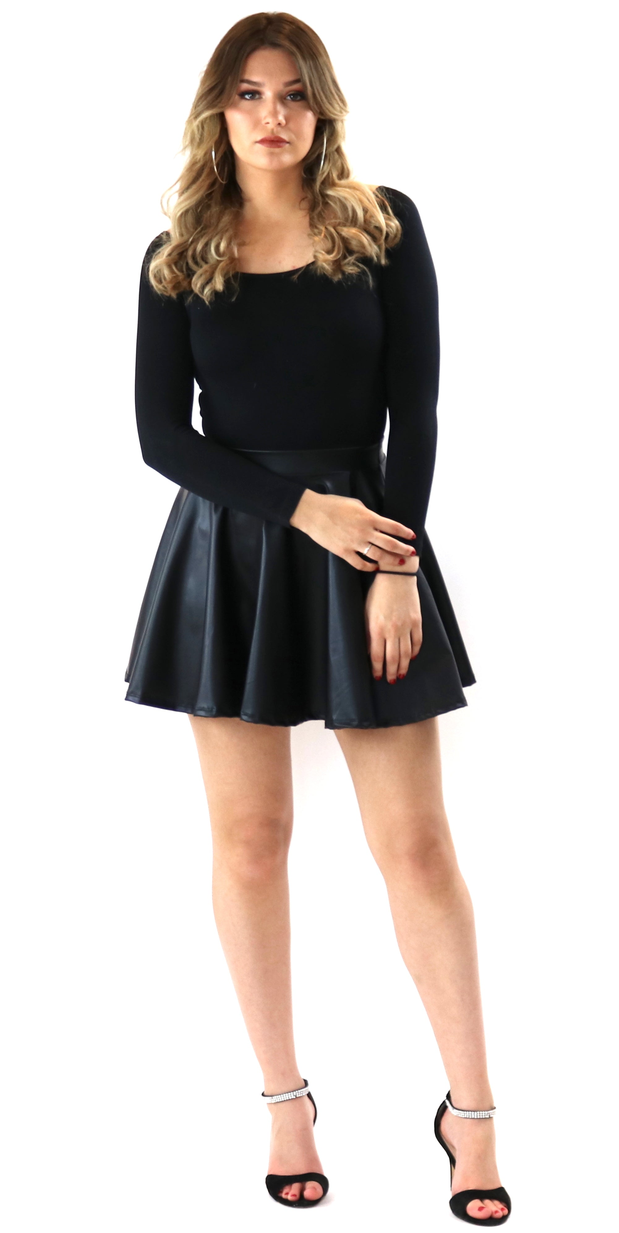 faux leather skirt bodysuit black fashion style trend clothes clothing