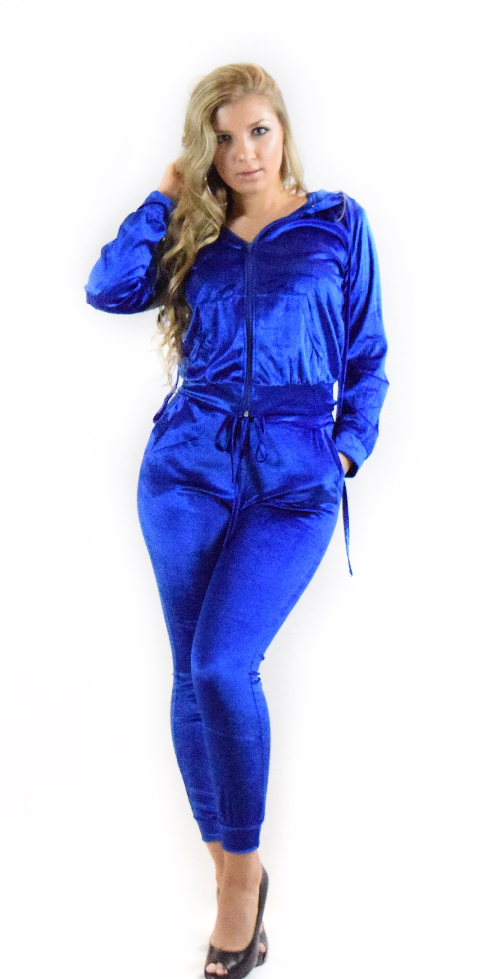 blue hooded jacket hoodie velvet sport matching set matching jogger pants two piece set  style trend trending woman girl teen clothing fashion