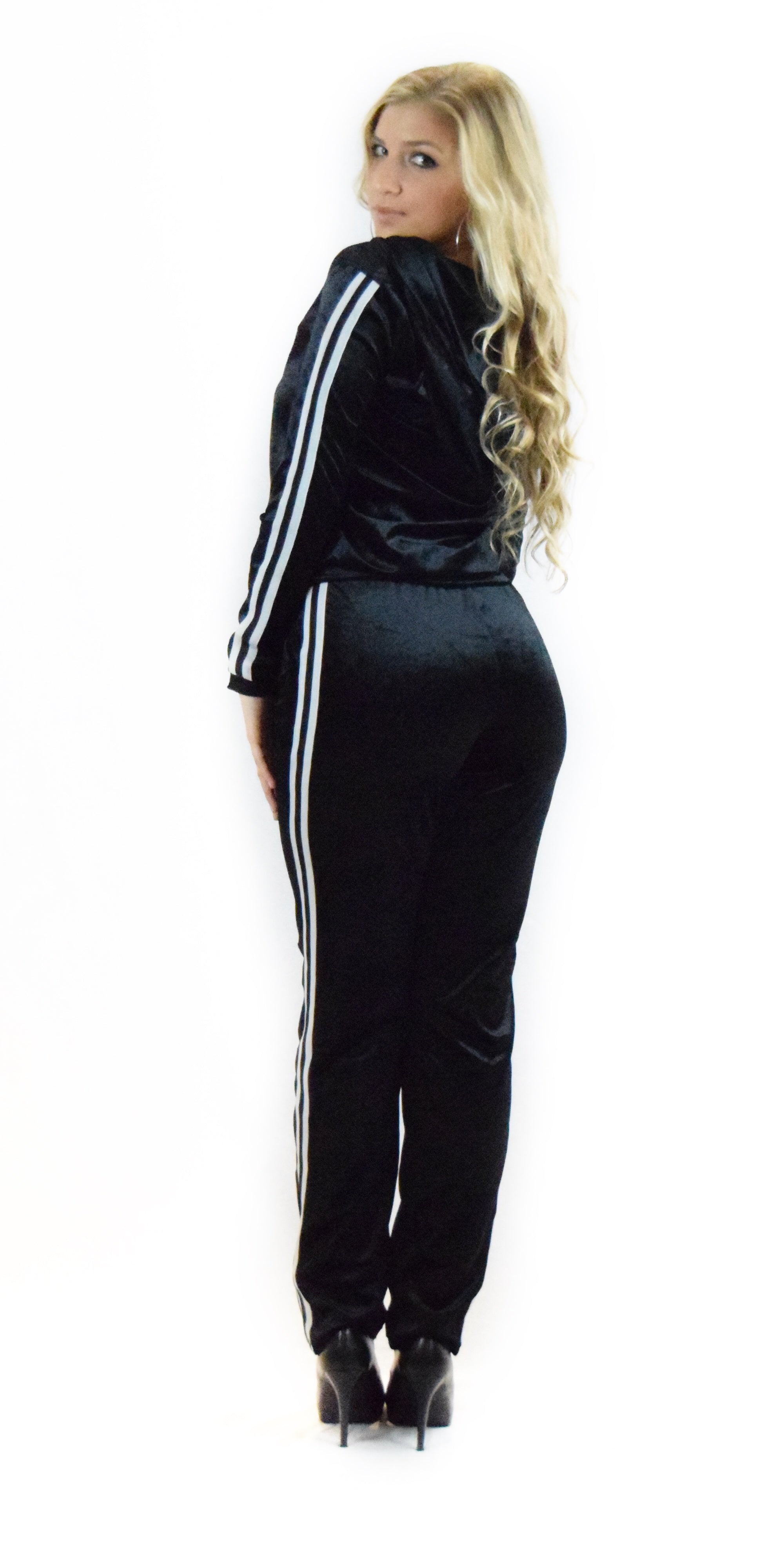 Velvet Black Striped Tracksuit