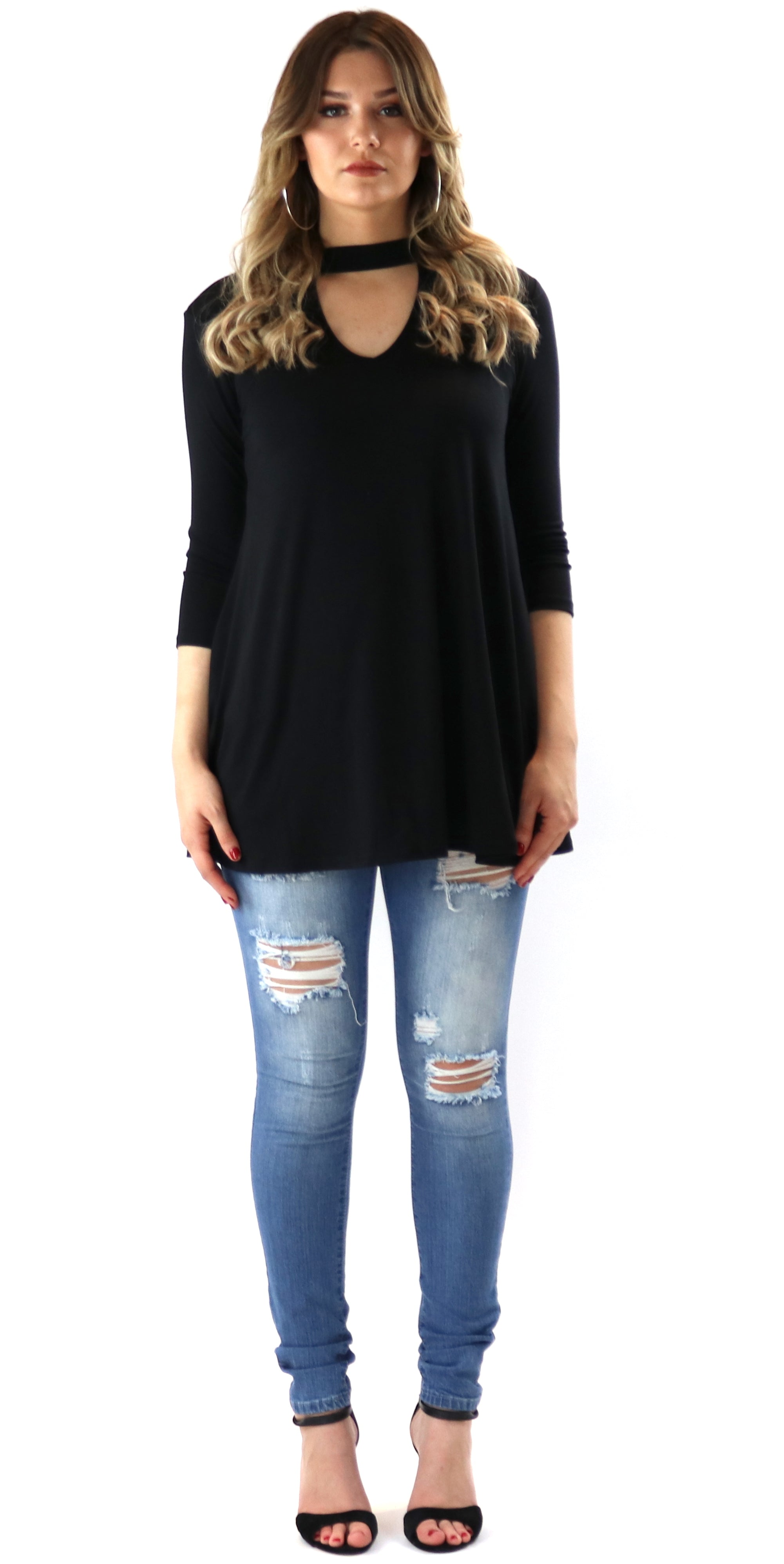 Neck Cut Out Top