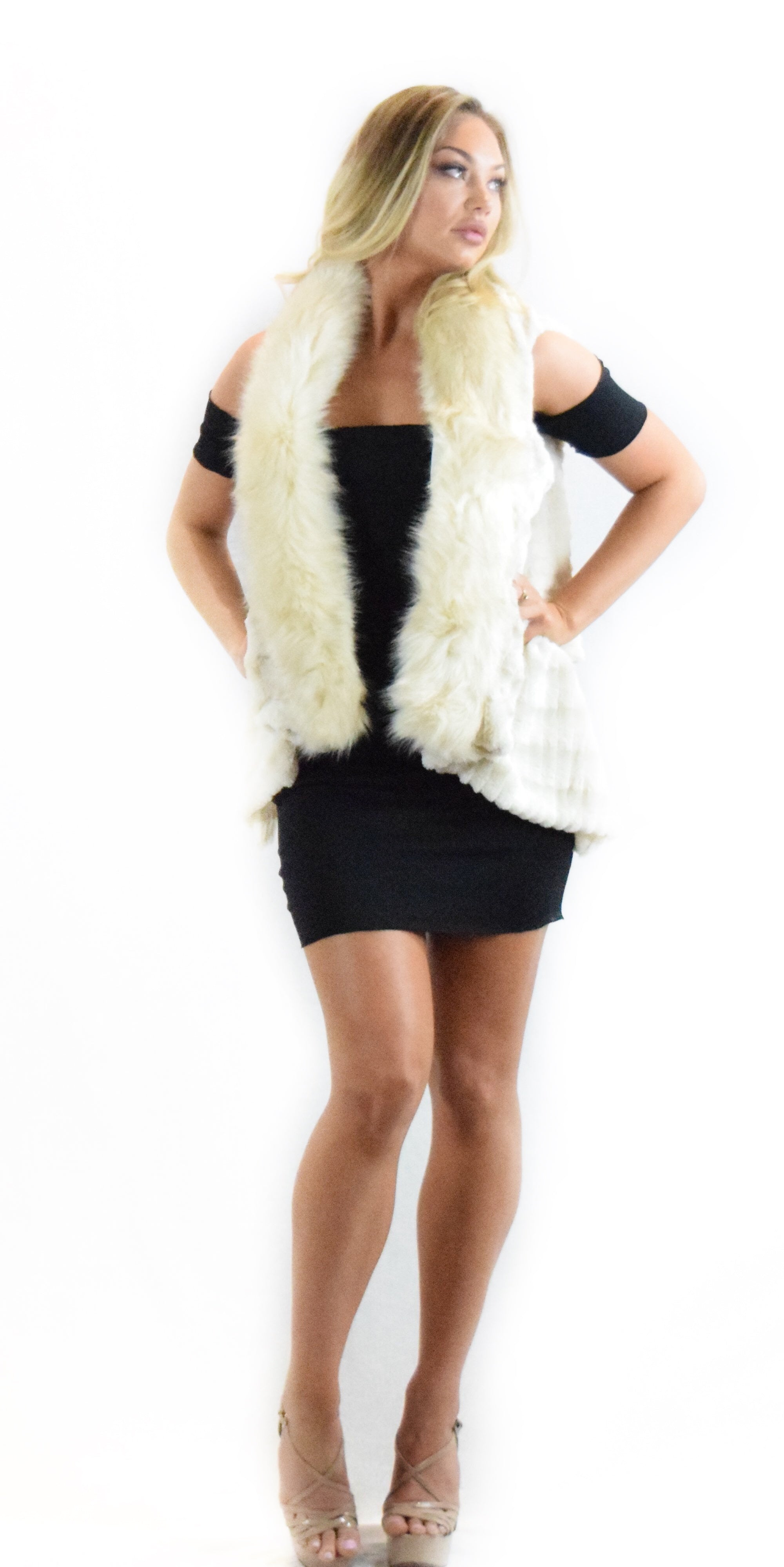 cream faux fur vest fashion clothing woman trending style
