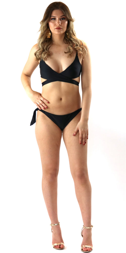 bikini two piece beach vacation pool swimming wrap tie up black fashion clothes clothing trend style