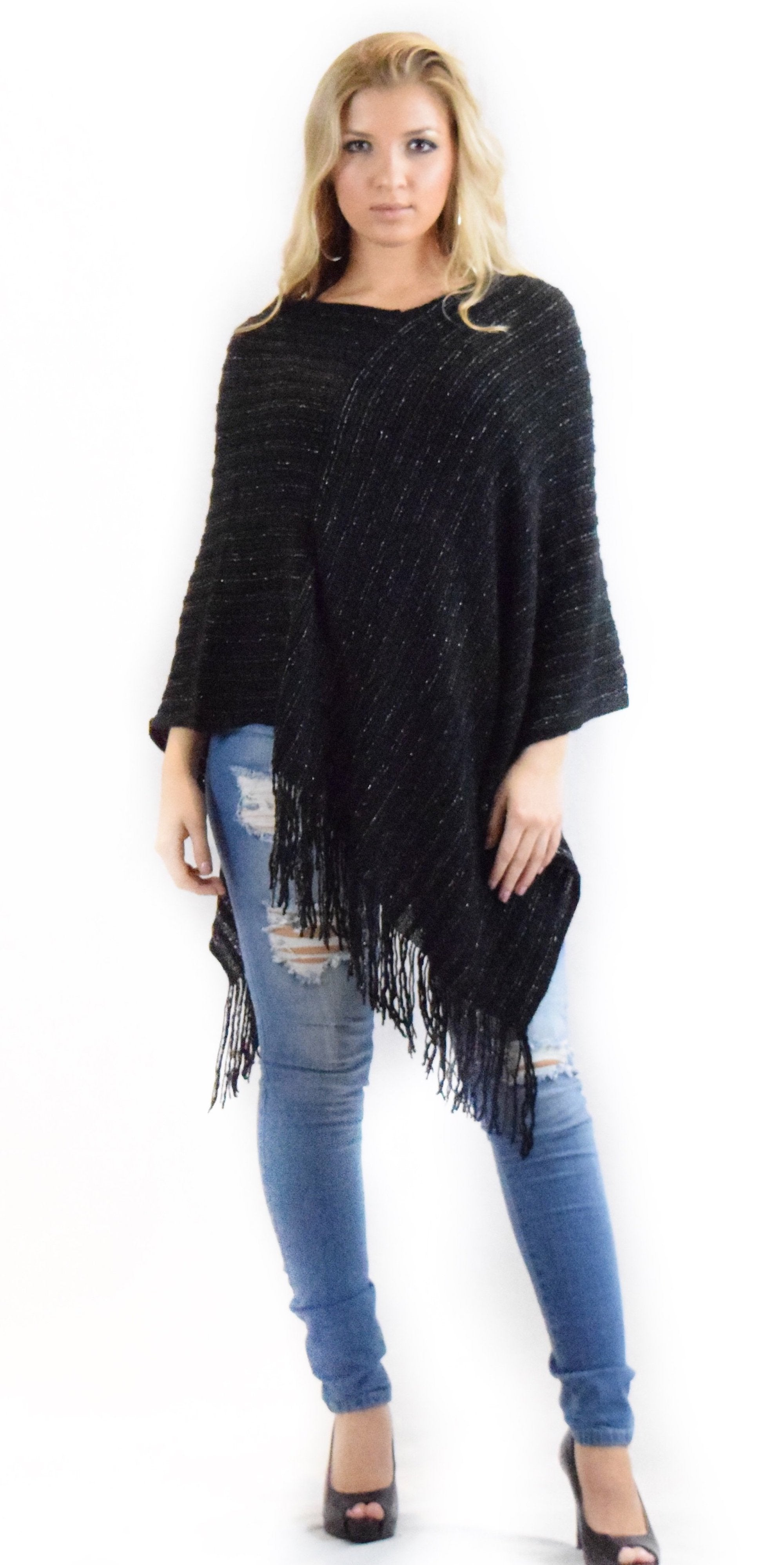 poncho black vneck spring fall fashion girl lady woman clothes clothing style trend