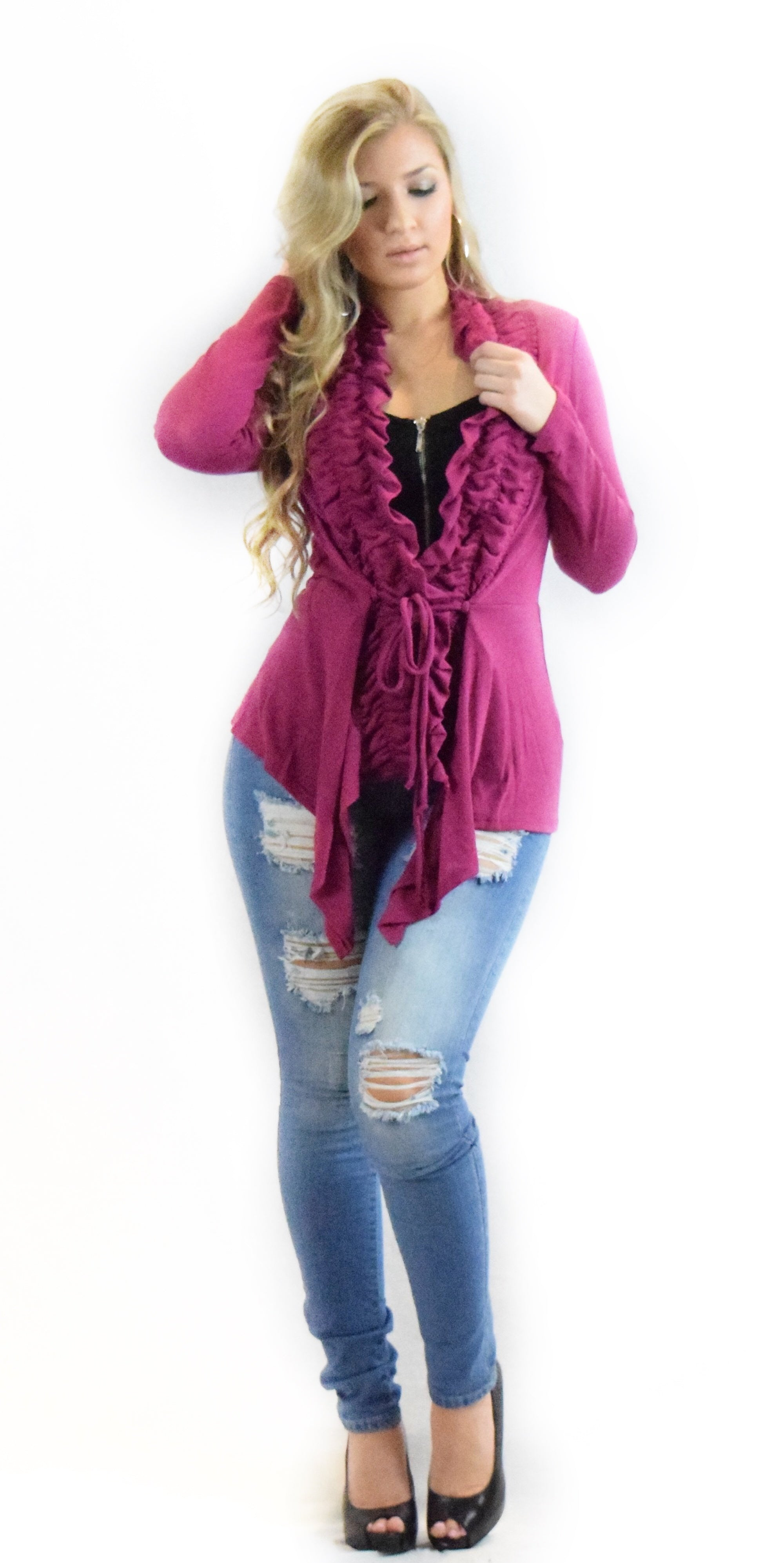 Ruched Cardigan