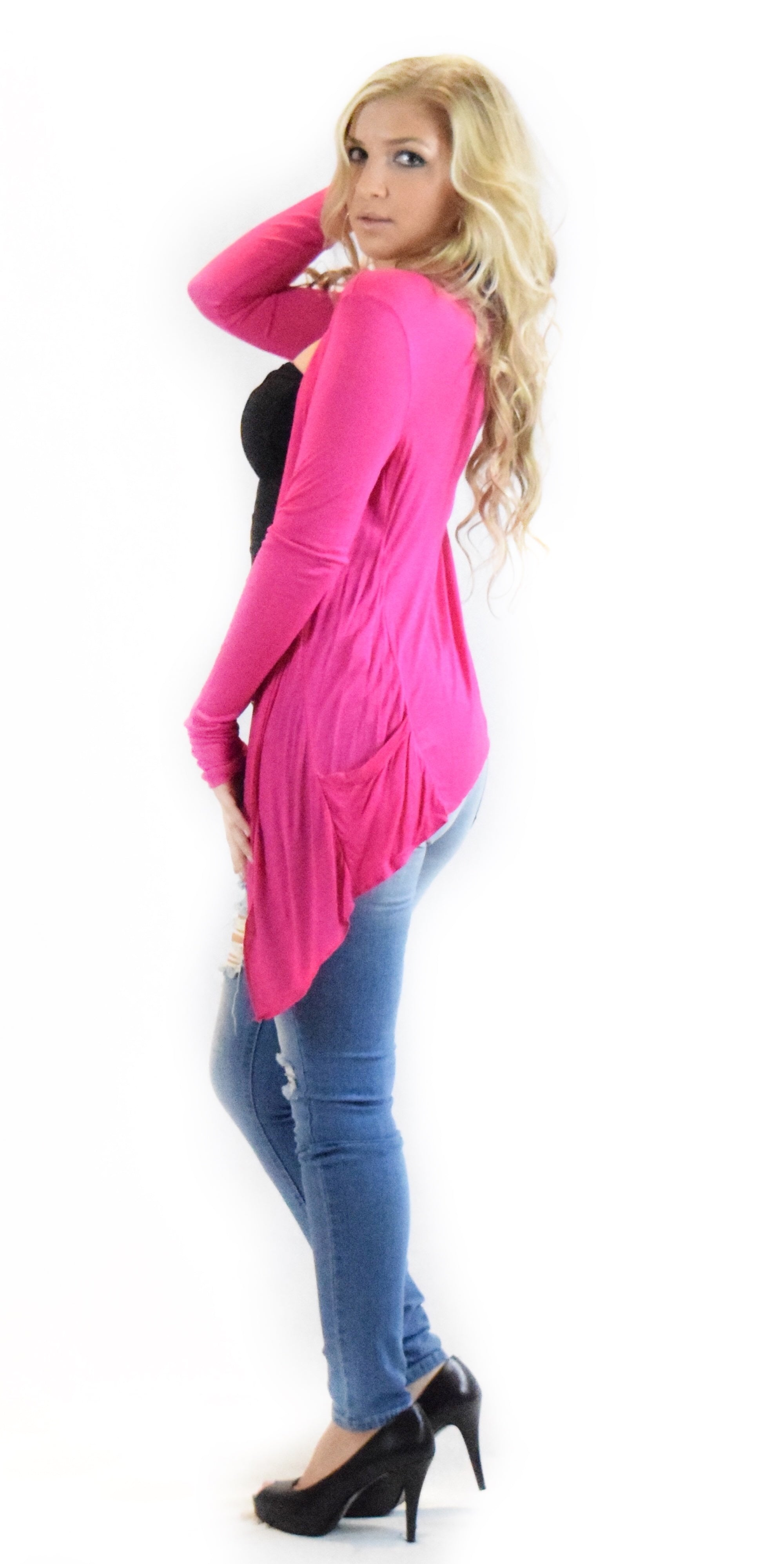 pink hot pink pocket jacket fashion clothing woman trending style clothes cardigan