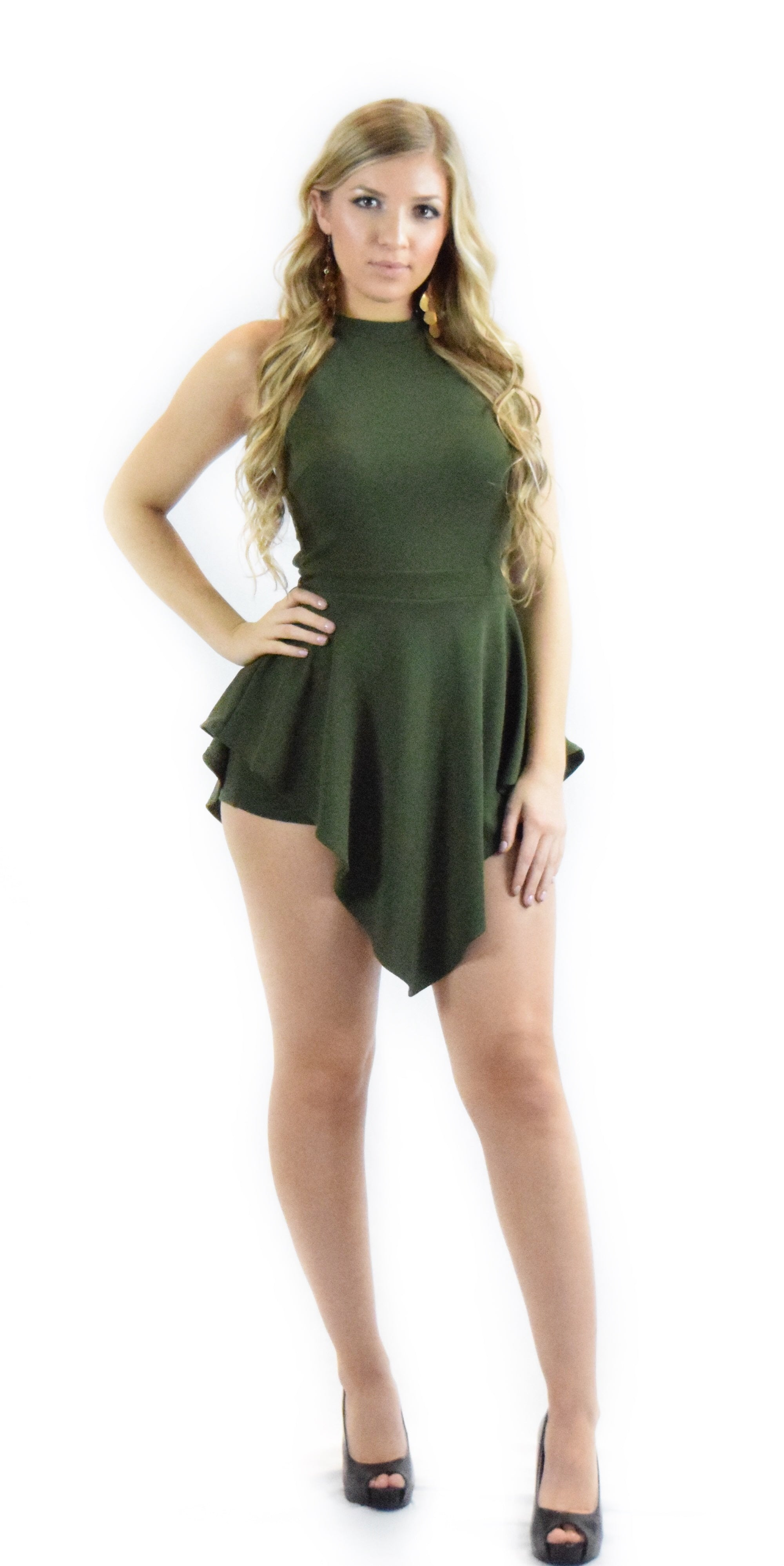 olive romper shorts fancy dressy zipper neck chocker fashion clothing woman trending style