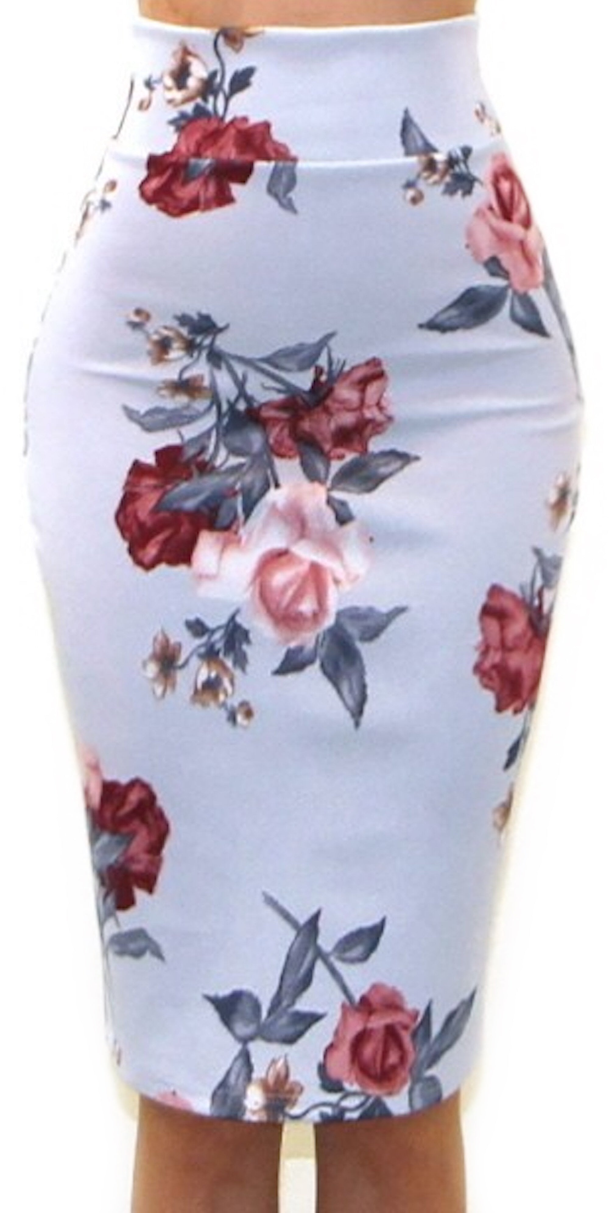 floral pencil skirt light blue knee length fashion clothing woman trending style