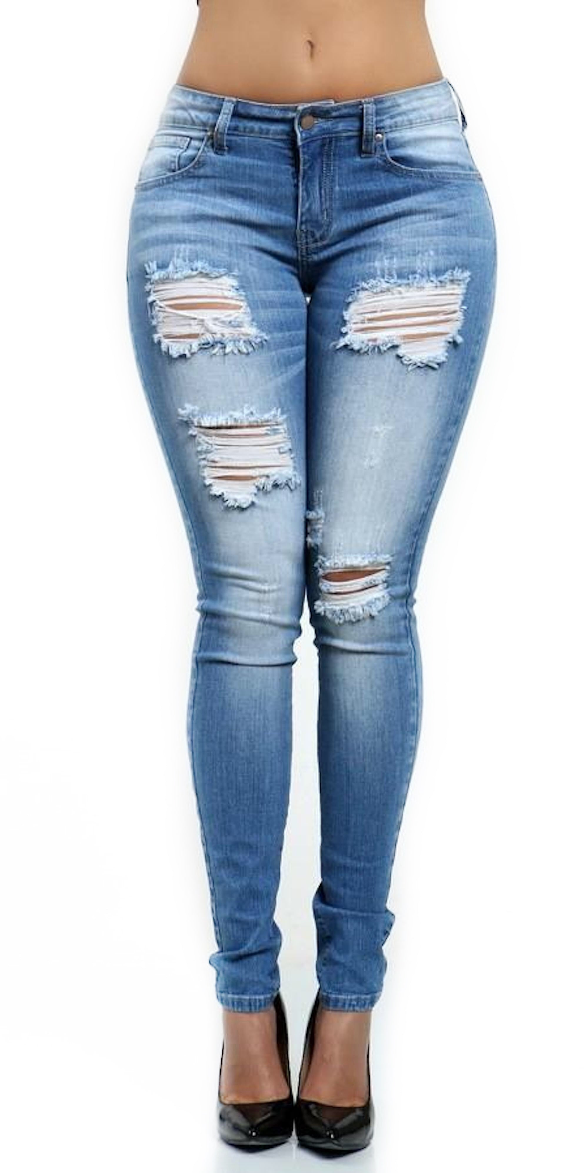 mid rise skinny jeans ripped pants blue washed out fashion clothing woman trending style