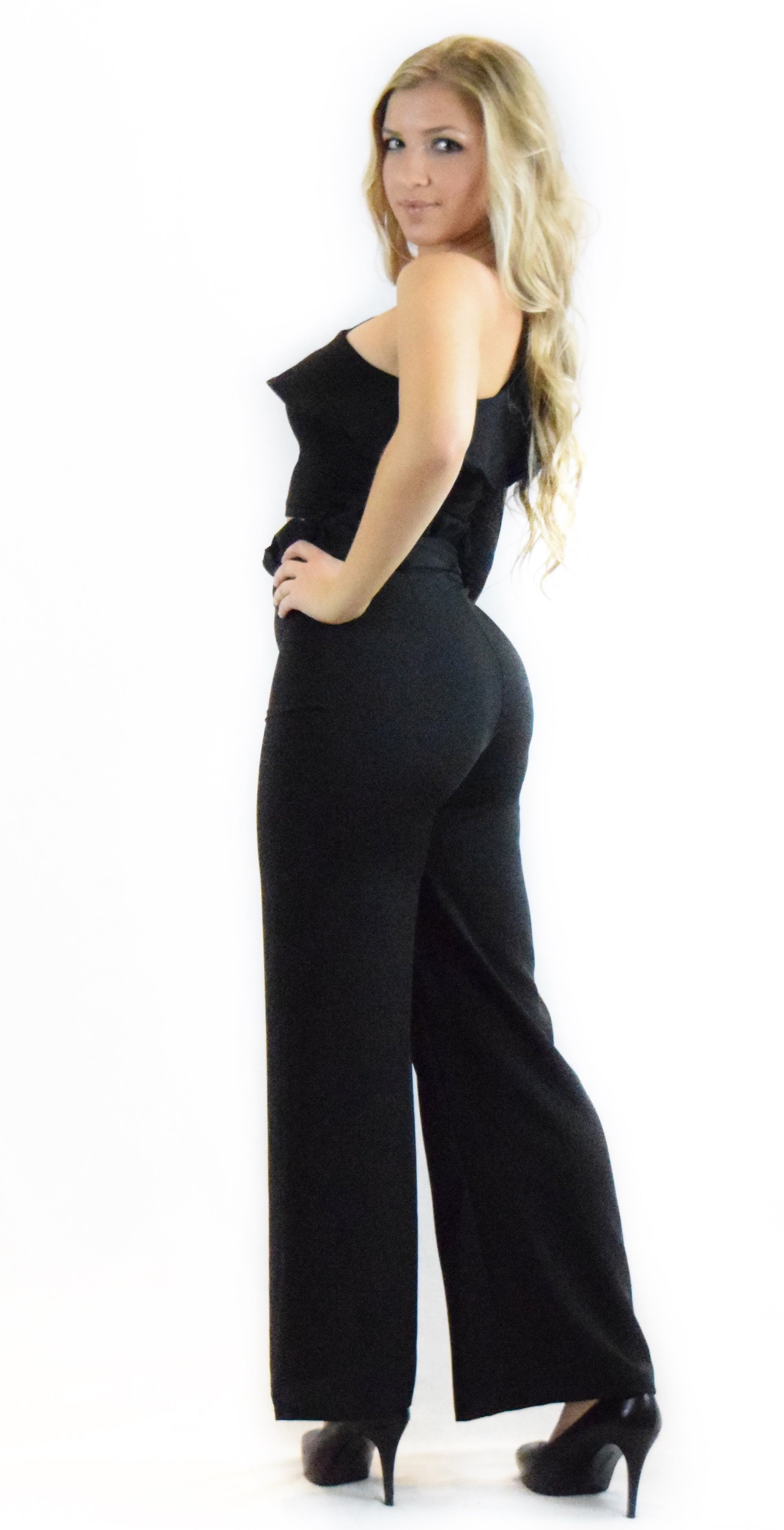 Black High Waist Belted Pants