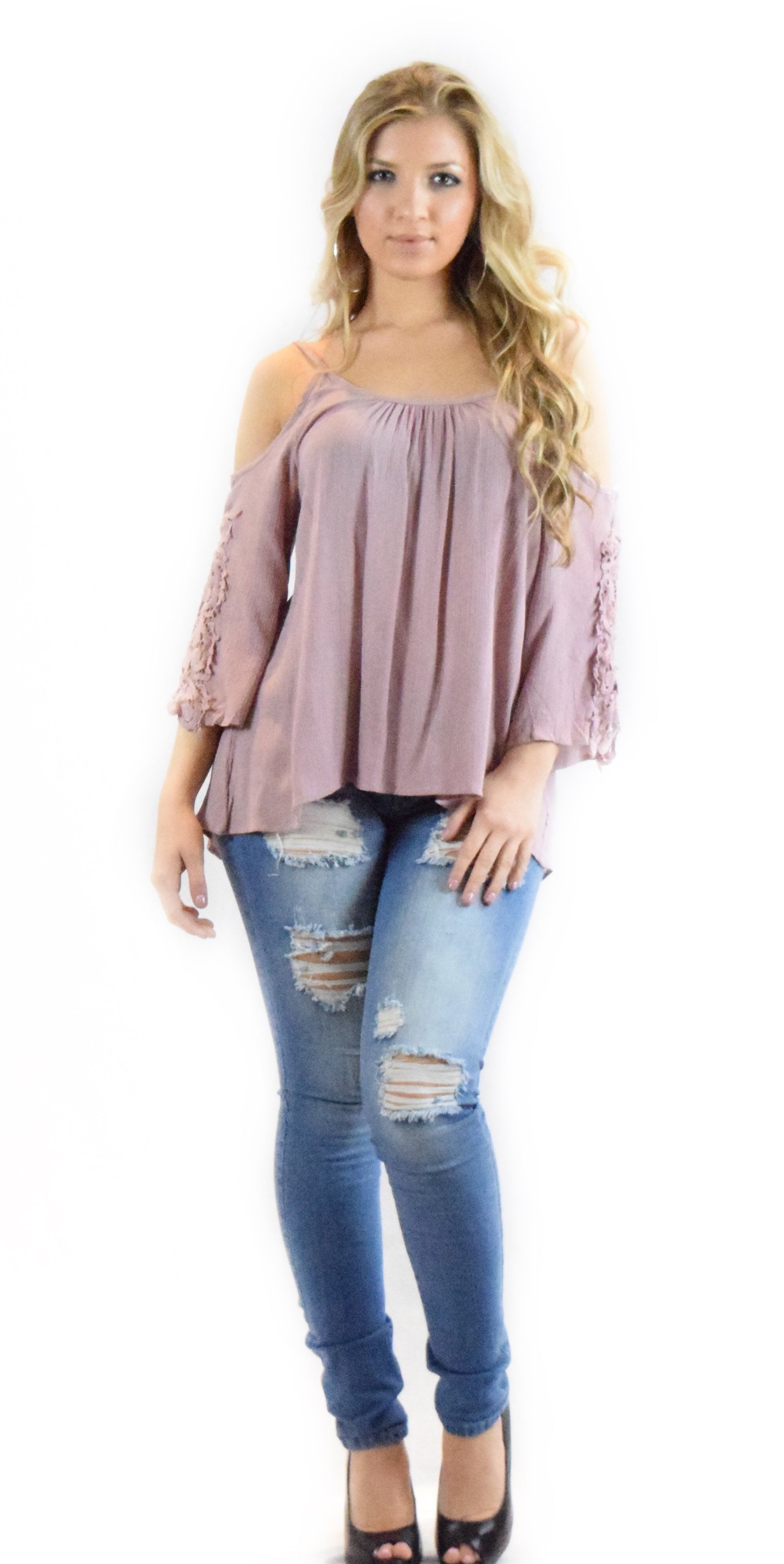 dusty mauve top comfortable loose design long sleeve fashion clothing woman trending style