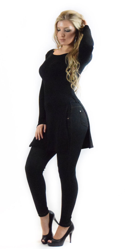 Black long sleeve slit side top fashion clothing woman trending style