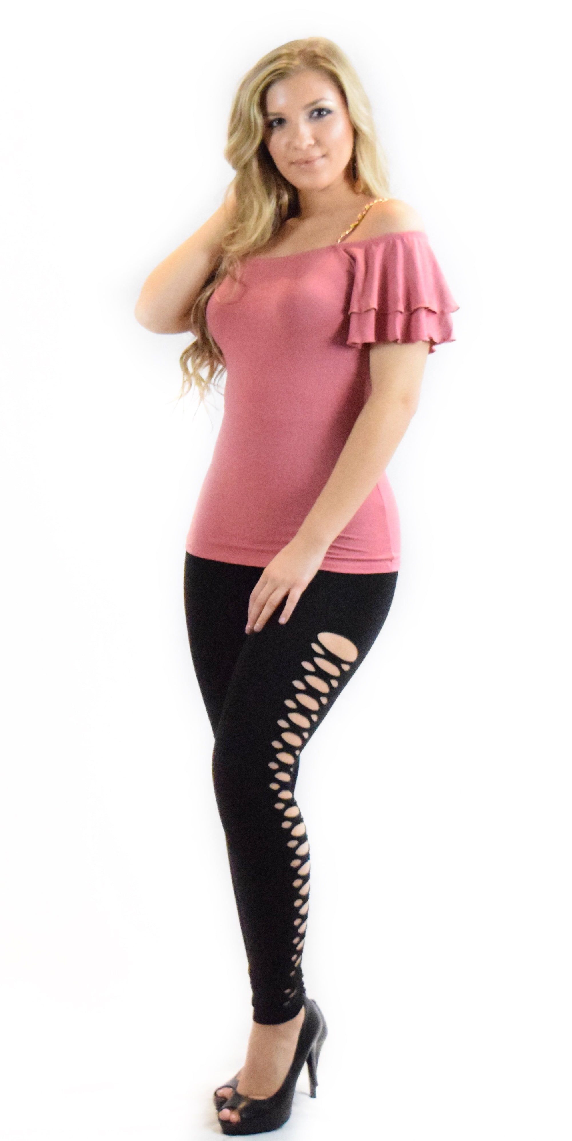 mauve chain spaghetti top pink curve hugging comfortable fashion clothing woman trending style