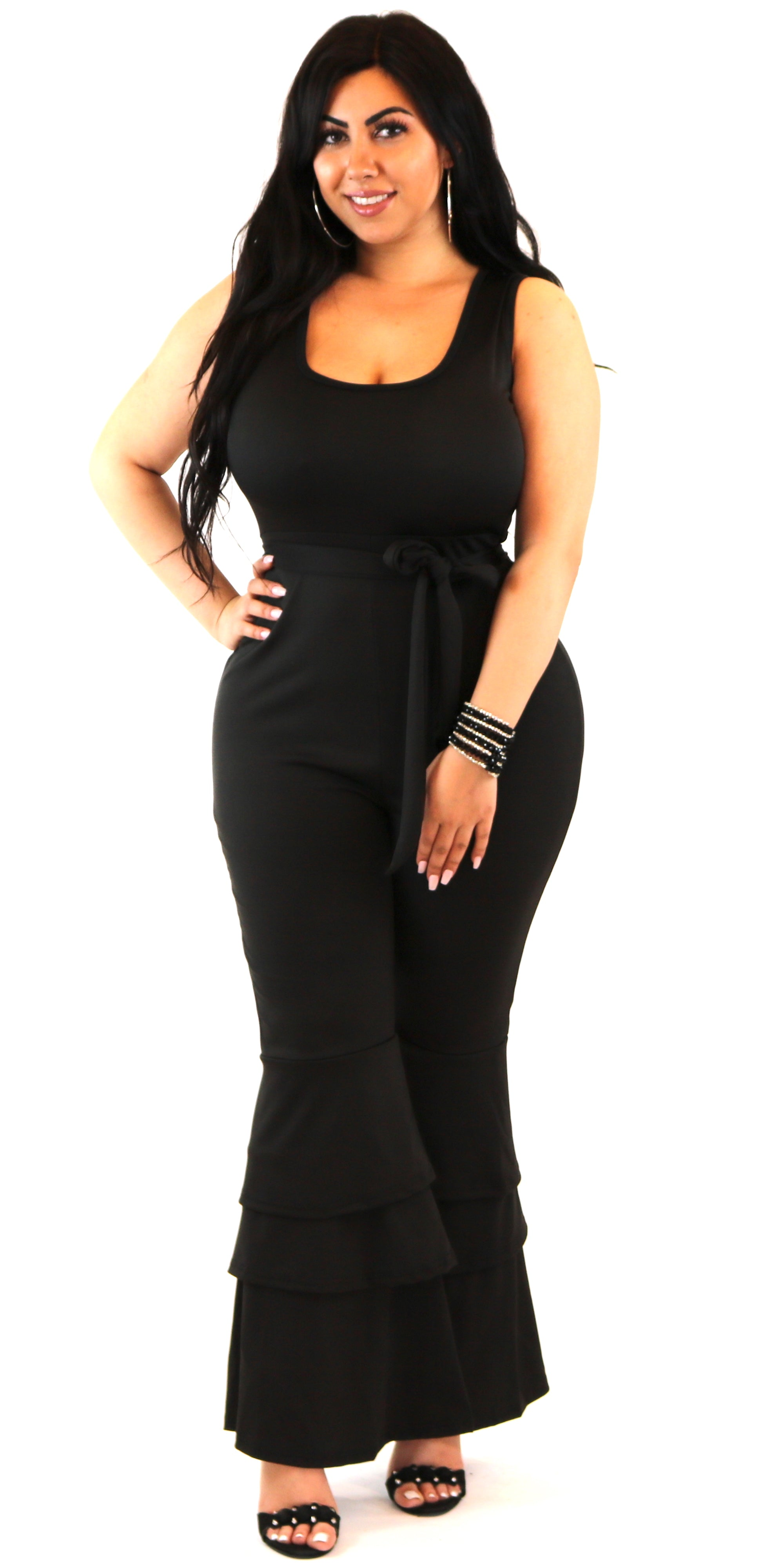 Ruffle Bottom Belted Jumpsuit