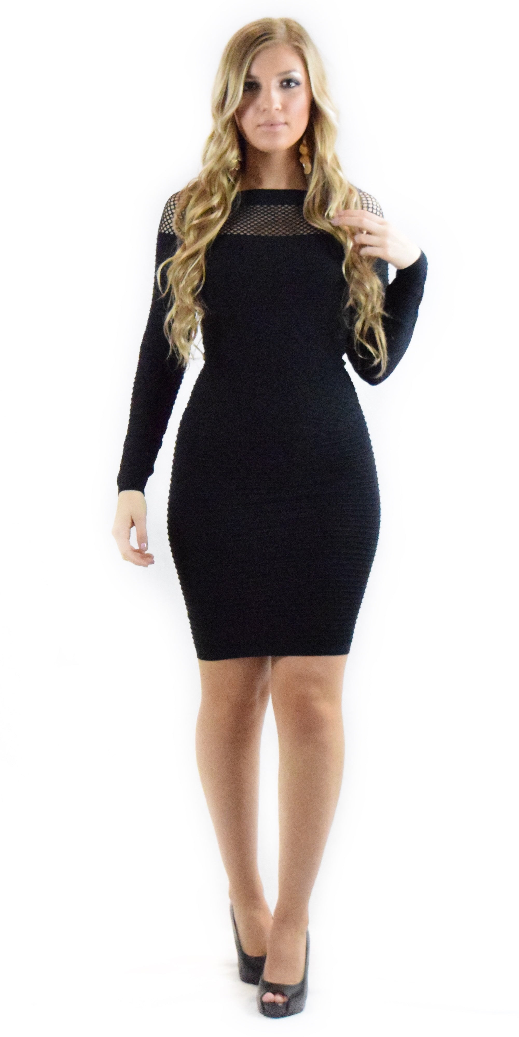 Netted Neckline Bodycon