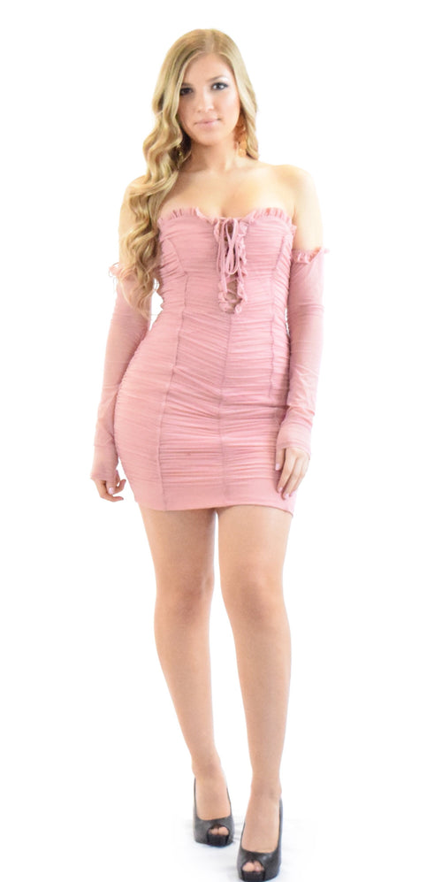 ruched long sleeve pink dress holiday New Years birthday party style trend trending woman girl teen clothing fashion