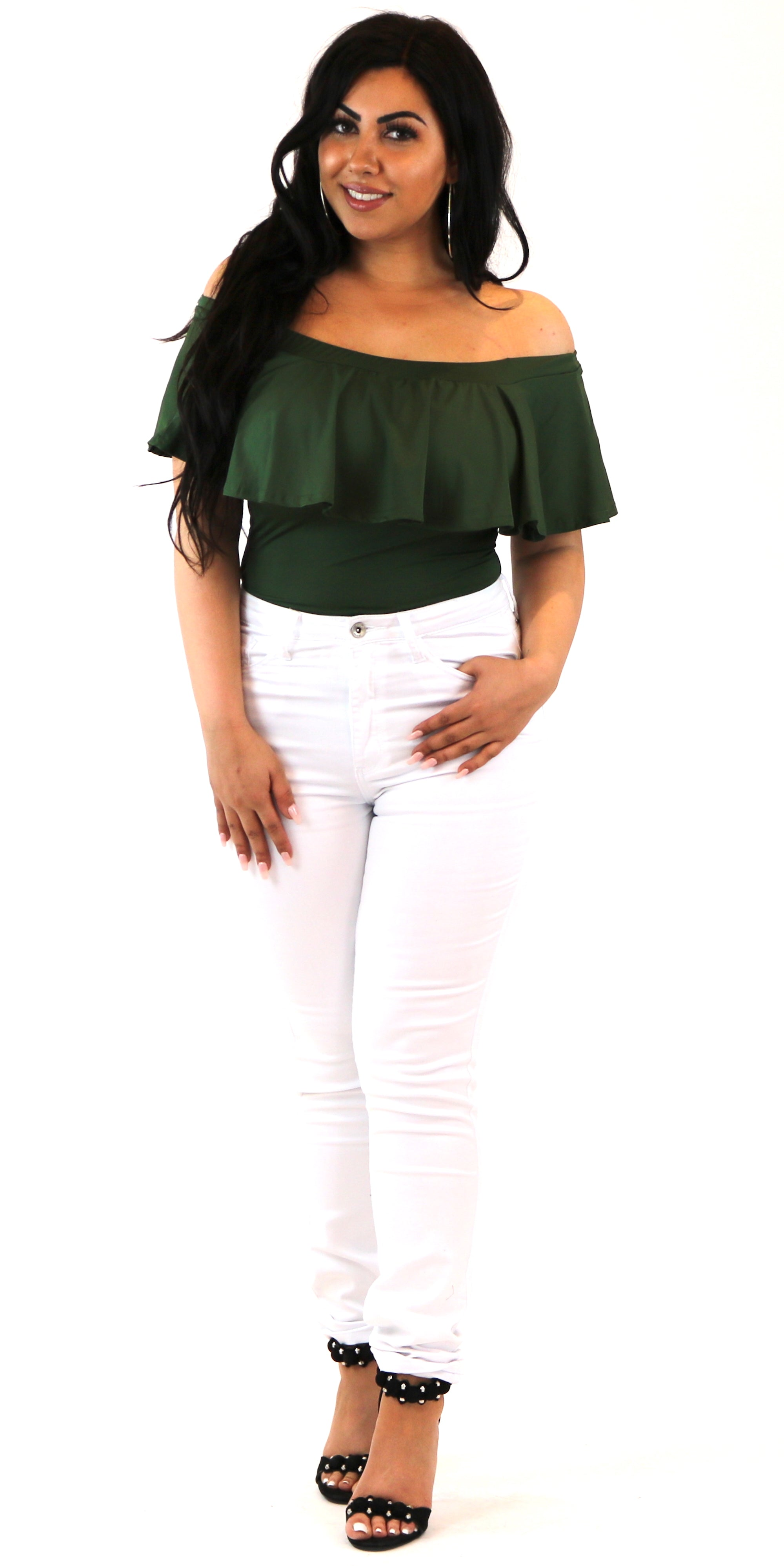 Olive Off Shoulder Ruffle Bodysuit
