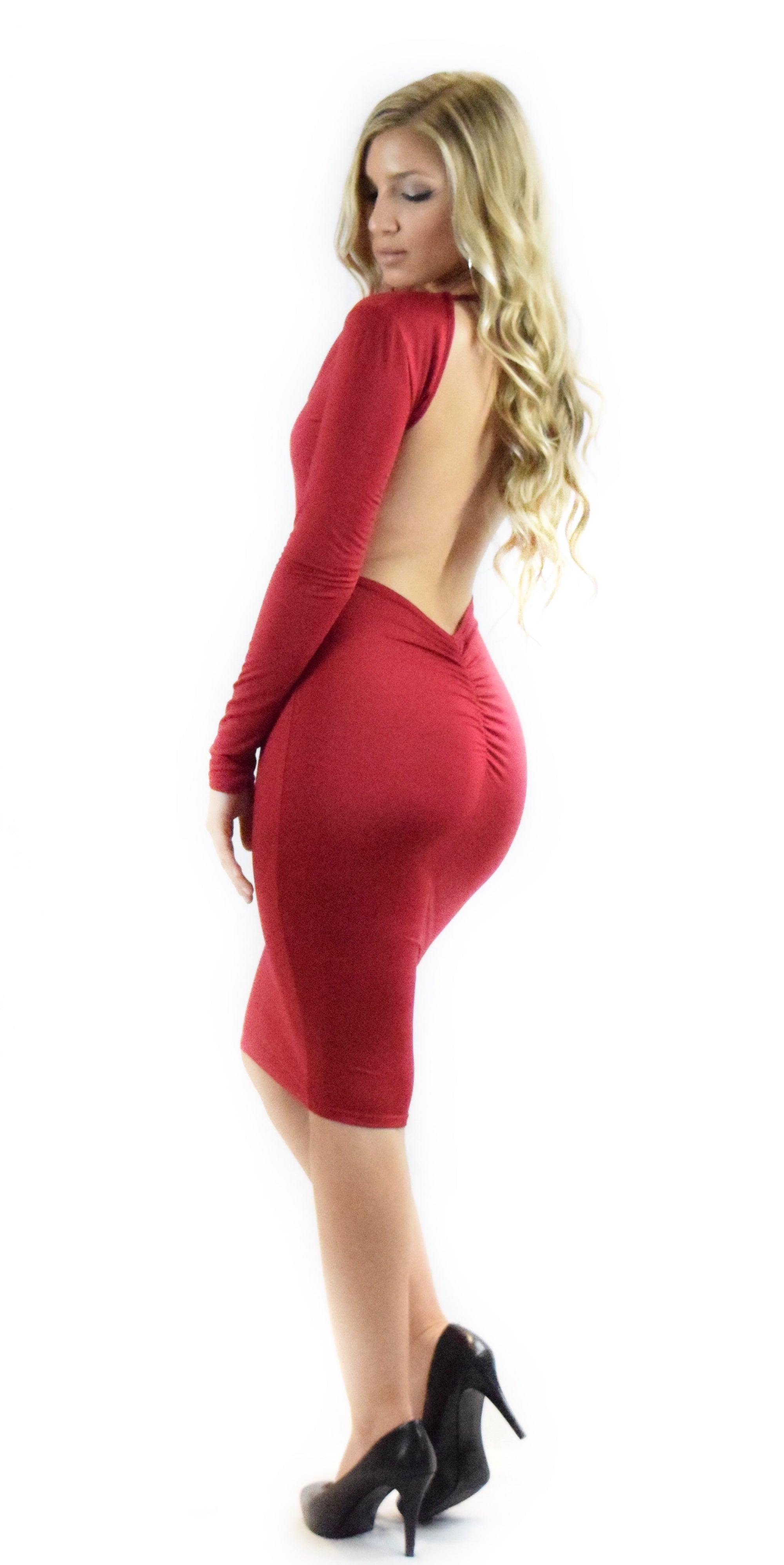 red backless long sleeve fancy dressy casual formal dress long fashion clothing woman trending style