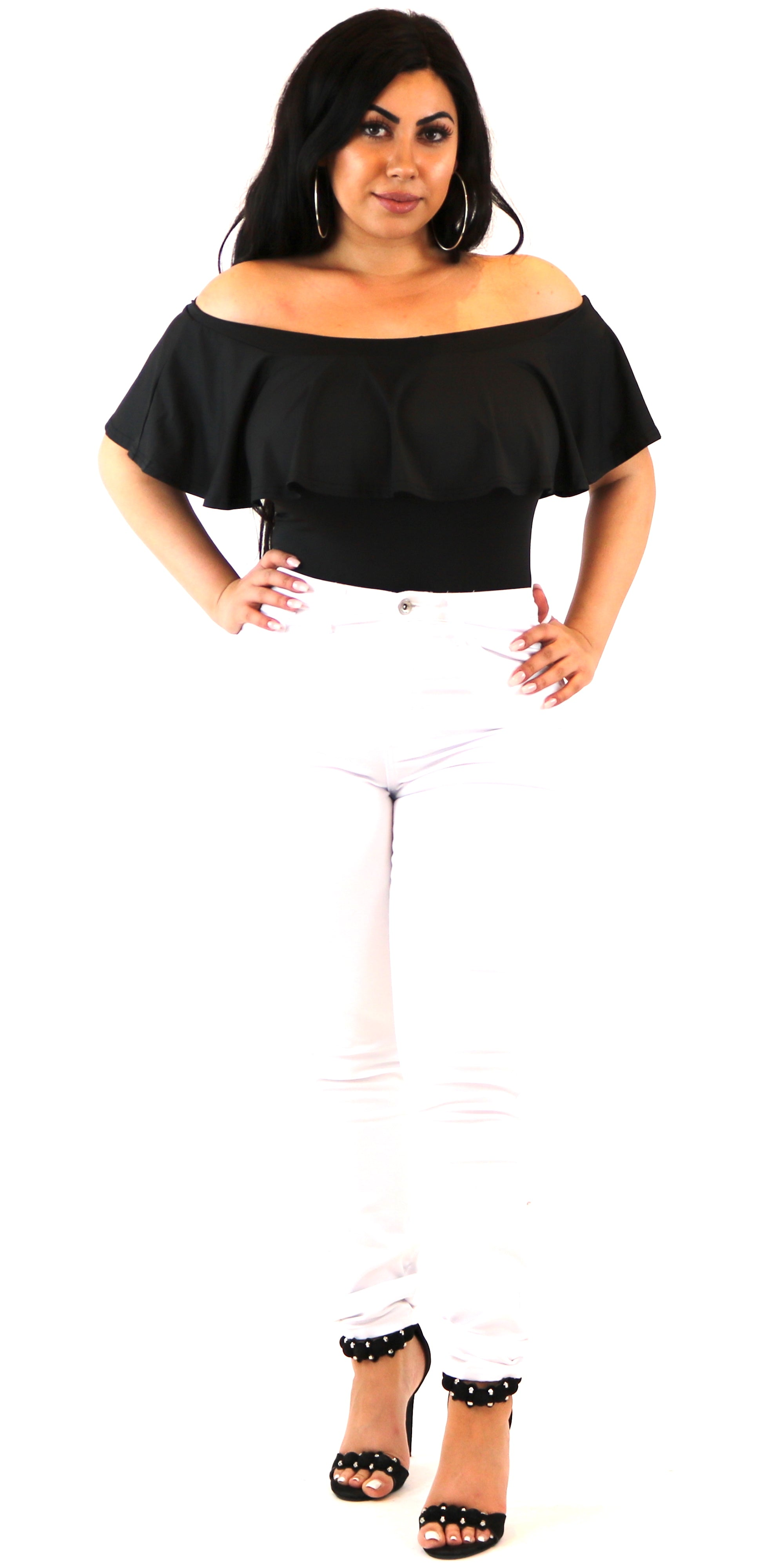 Black Off Shoulder Ruffle Bodysuit