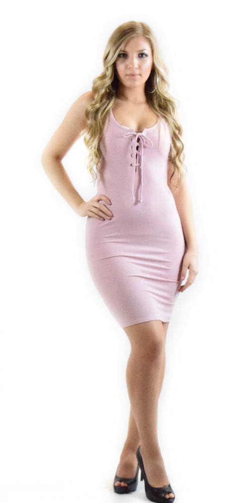 lace up pink dress curve hugging figure fancy dressy fashion clothing woman trending style