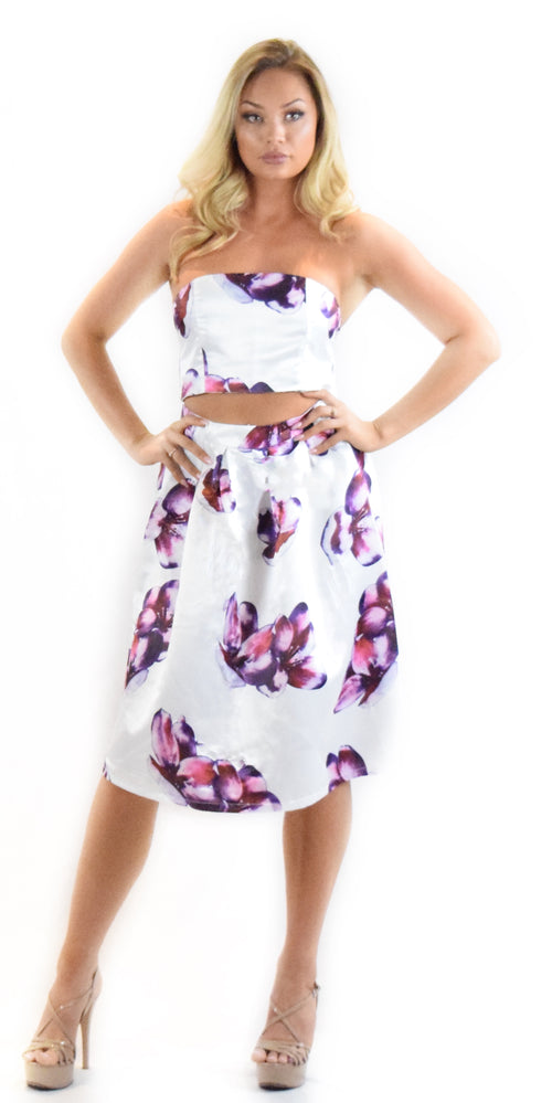 floral dress comfortable white purple fashion clothing woman trending style