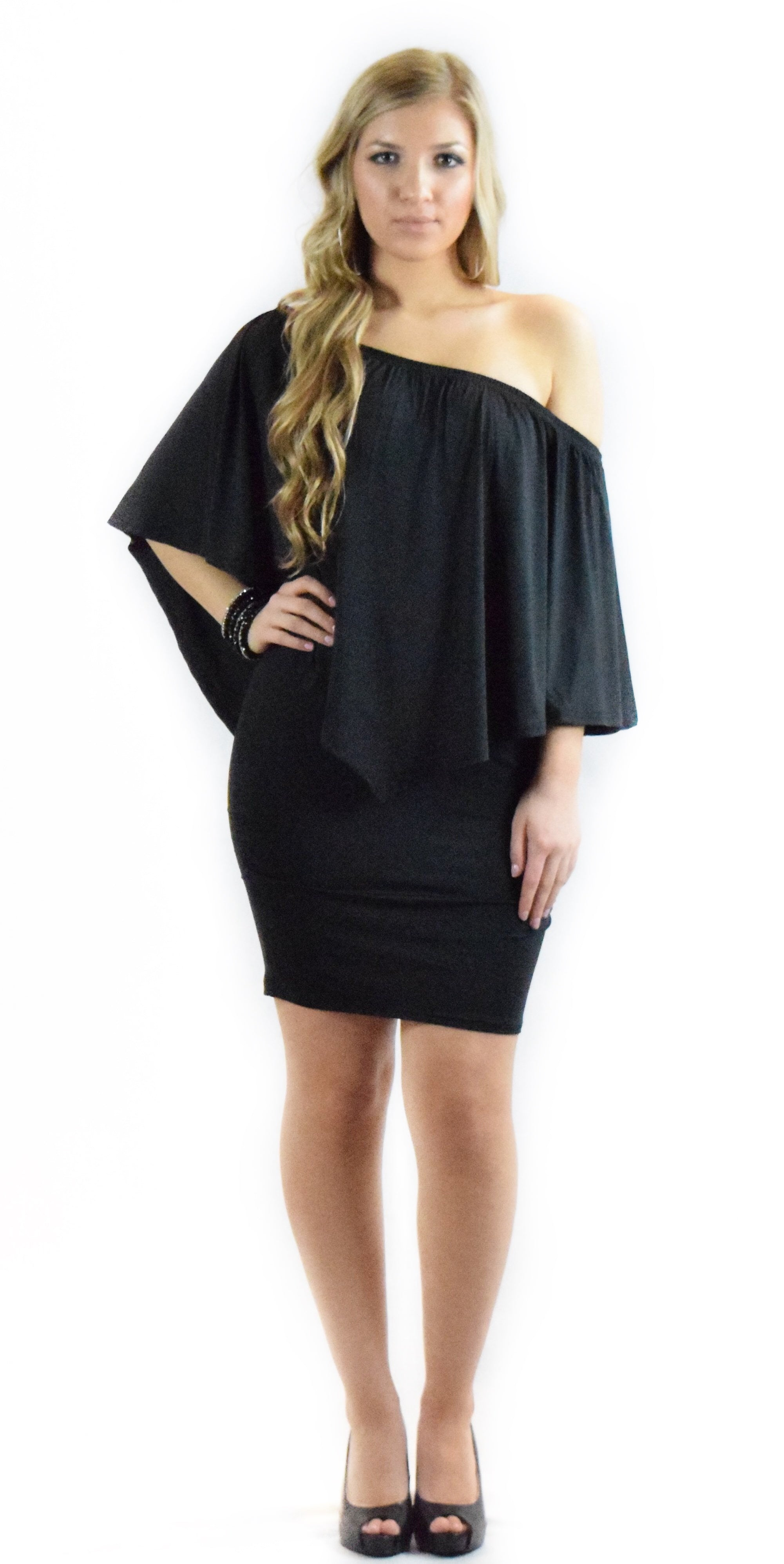 Black off shoulder dress fashion clothing woman trending style