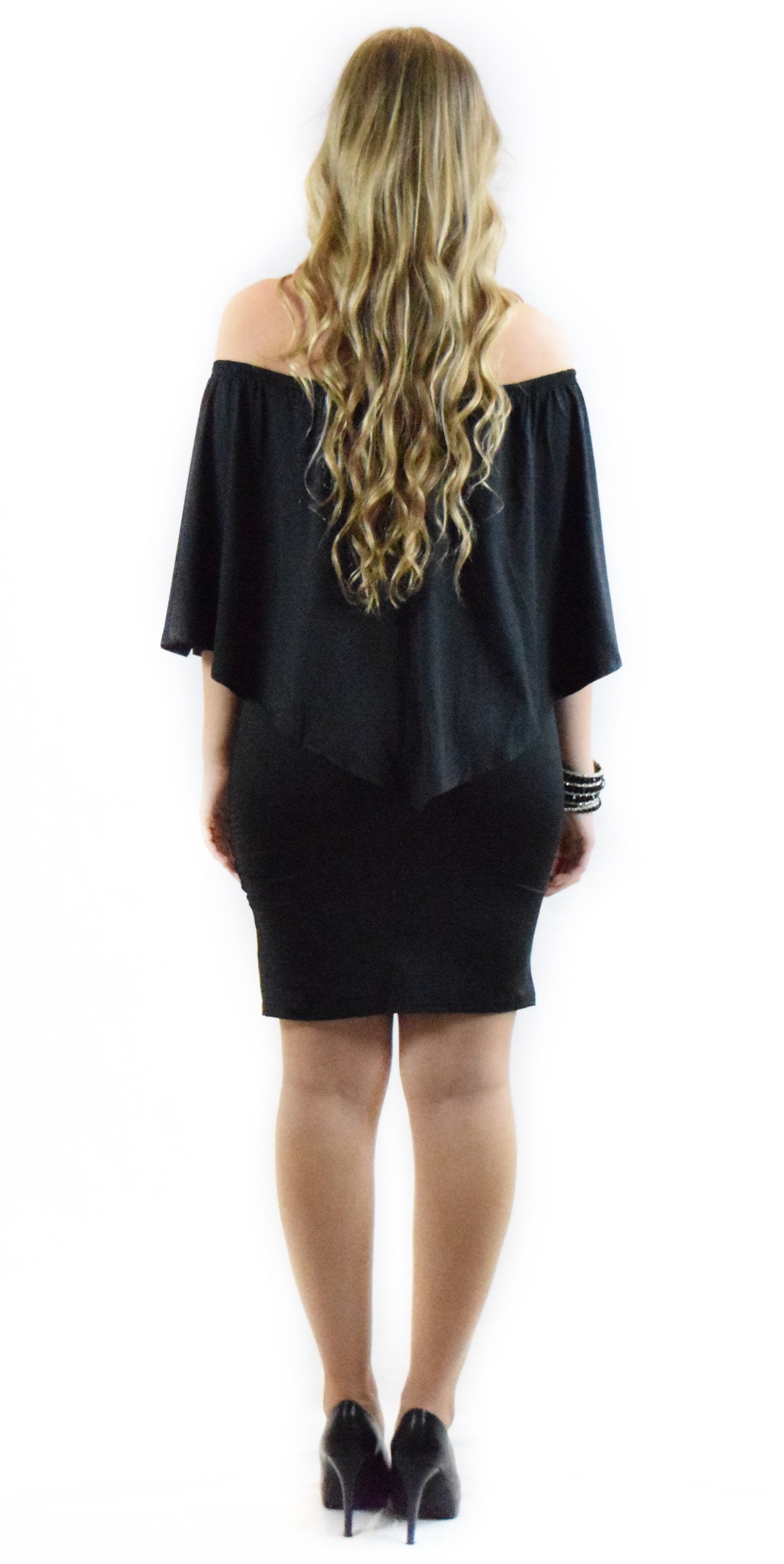 Black Solid Off Shoulder Dress