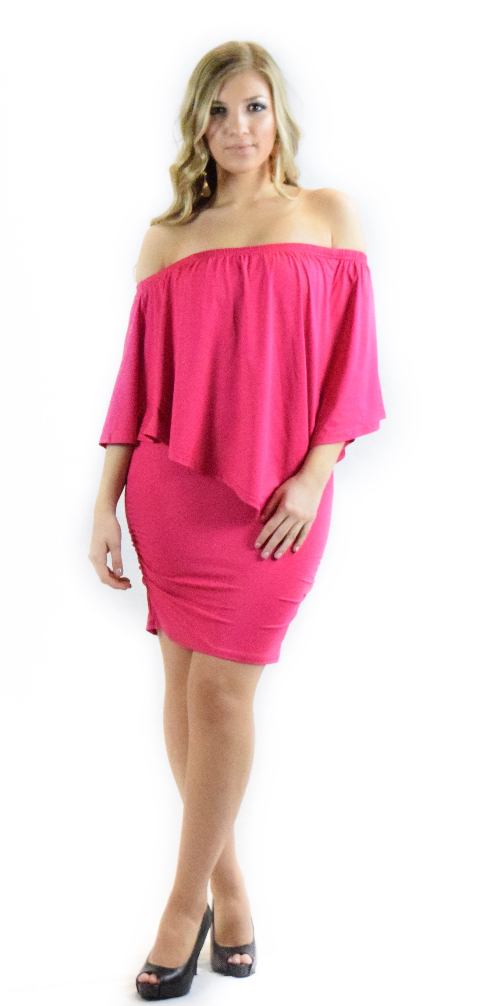 magenta off shoulder dress pink one comfortable fashion clothing woman trending style