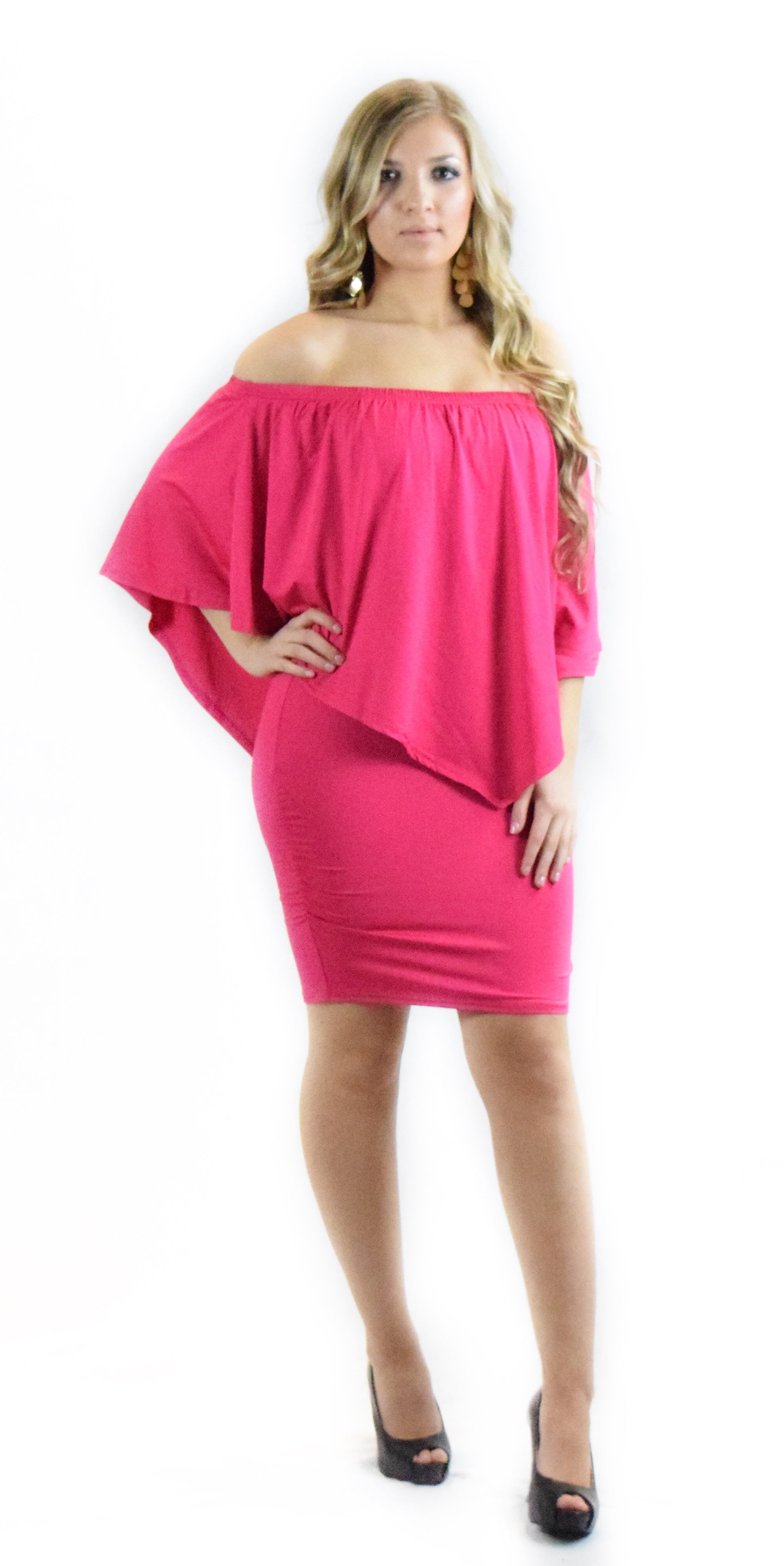 Magenta Solid Off Shoulder Dress