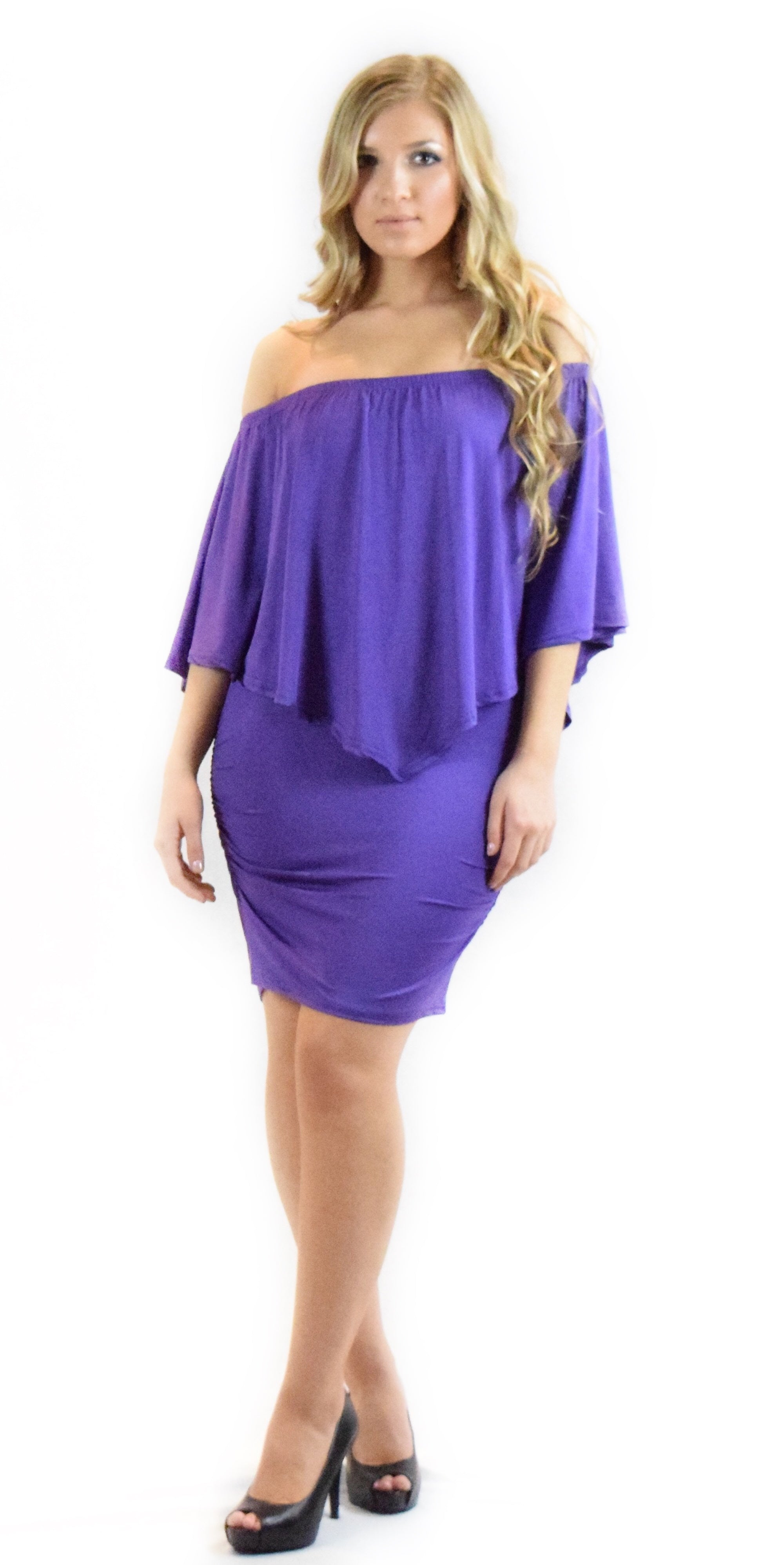 a9f27b9a4694 Purple Solid Off Shoulder Dress – Belliza