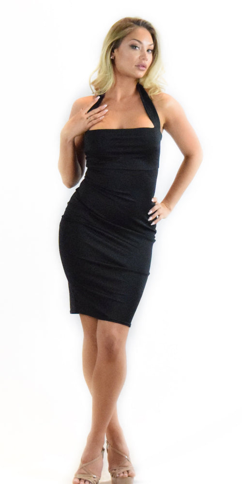 Black halter dress long curve hugging fashion clothing woman trending style