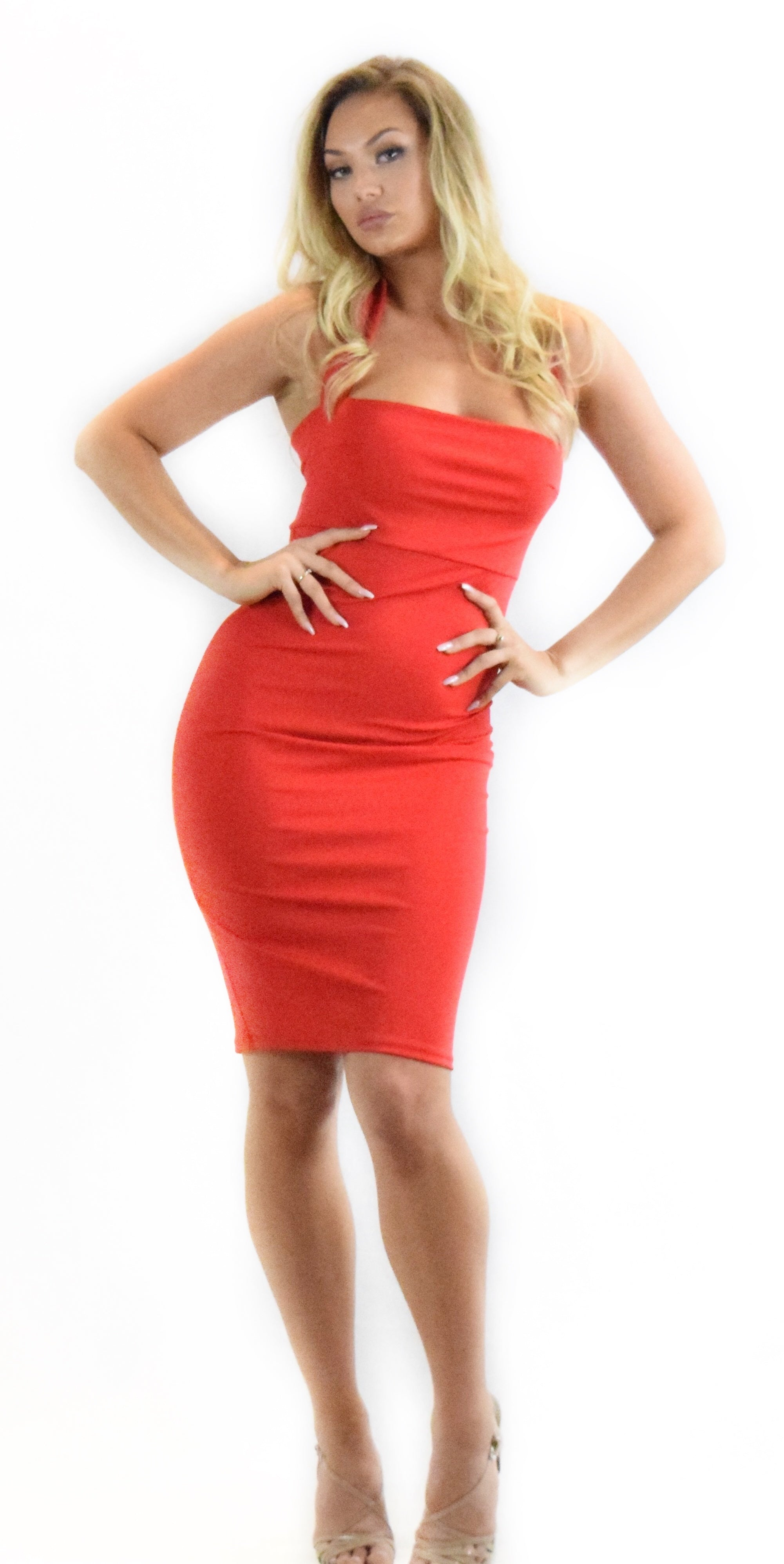 red halter dress dressy formal curve hugging fashion clothing woman trending style