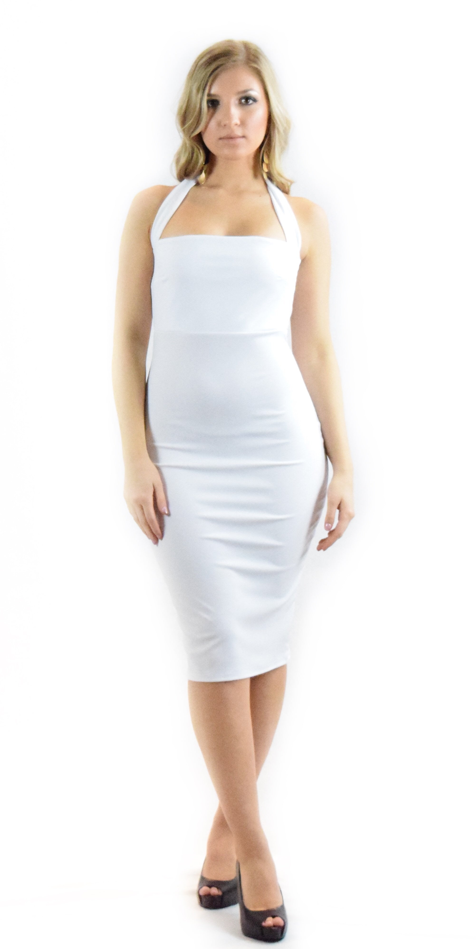 white halter dress curve hugging form fitting casual formal fashion clothing woman trending style