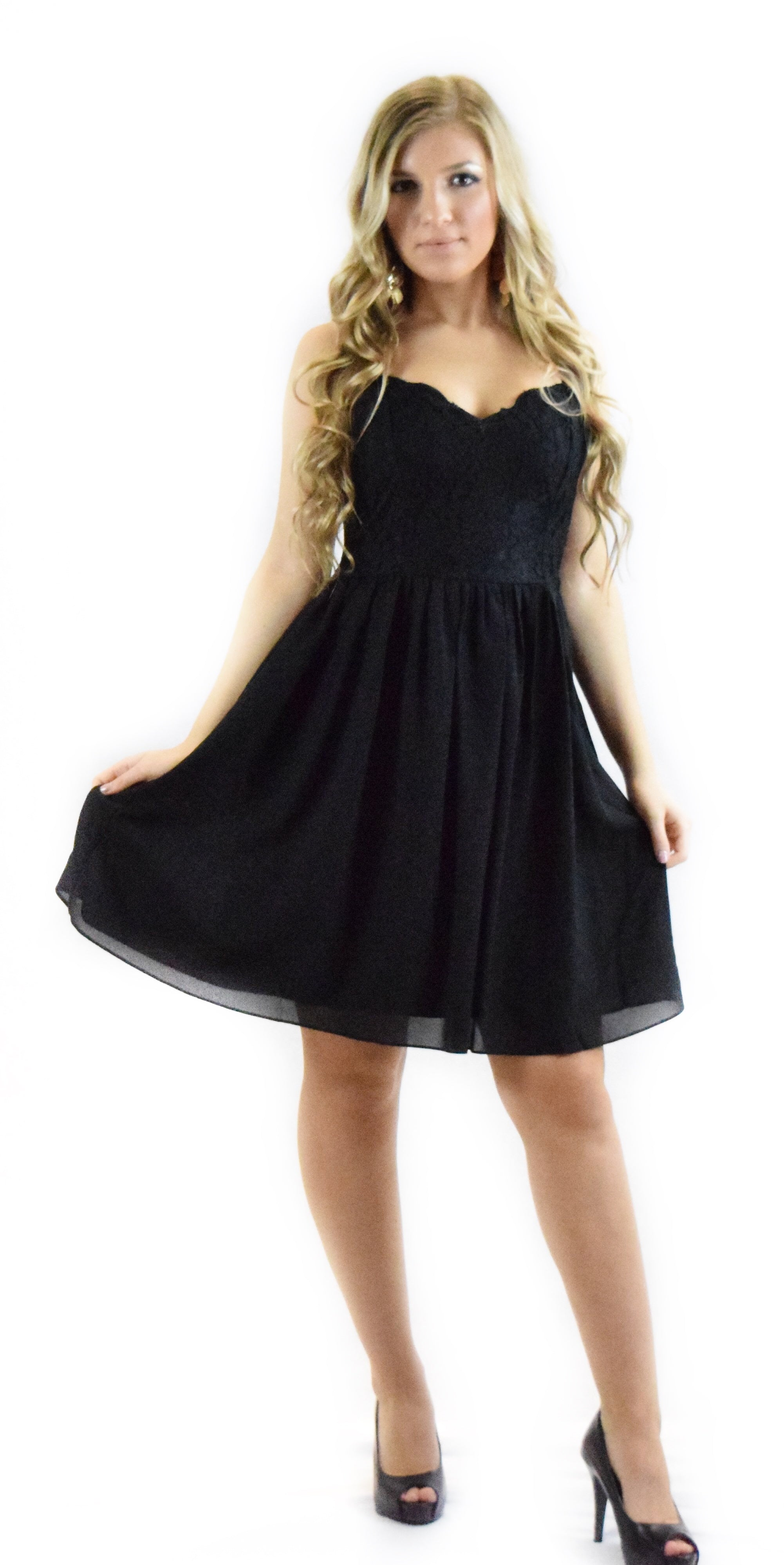 black spaghetti dress fancy dressy lace ruffle knee length fashion clothing woman trending style