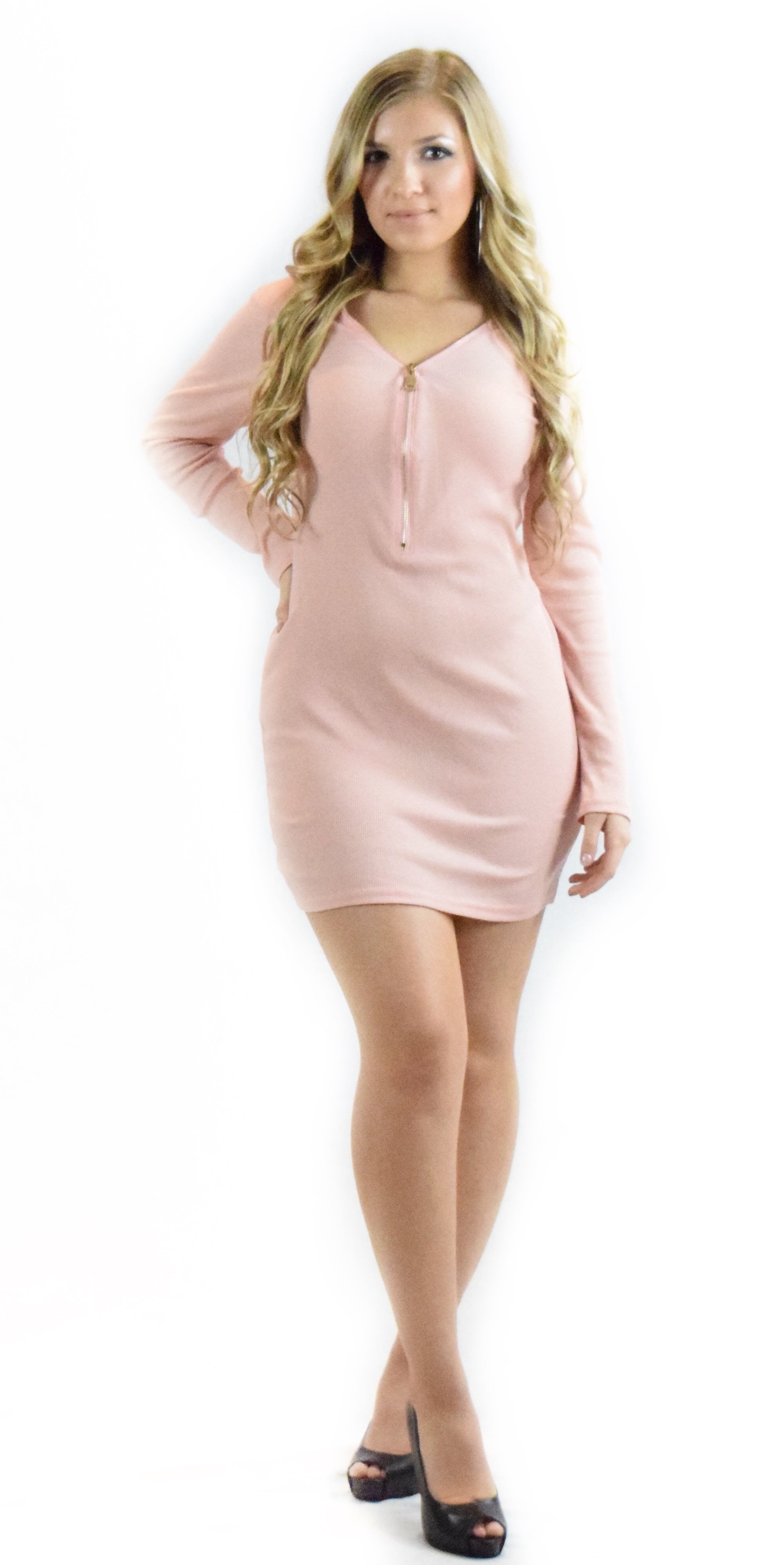 pink long sleeve zipper dress casual comfortable fashion clothing woman trending style