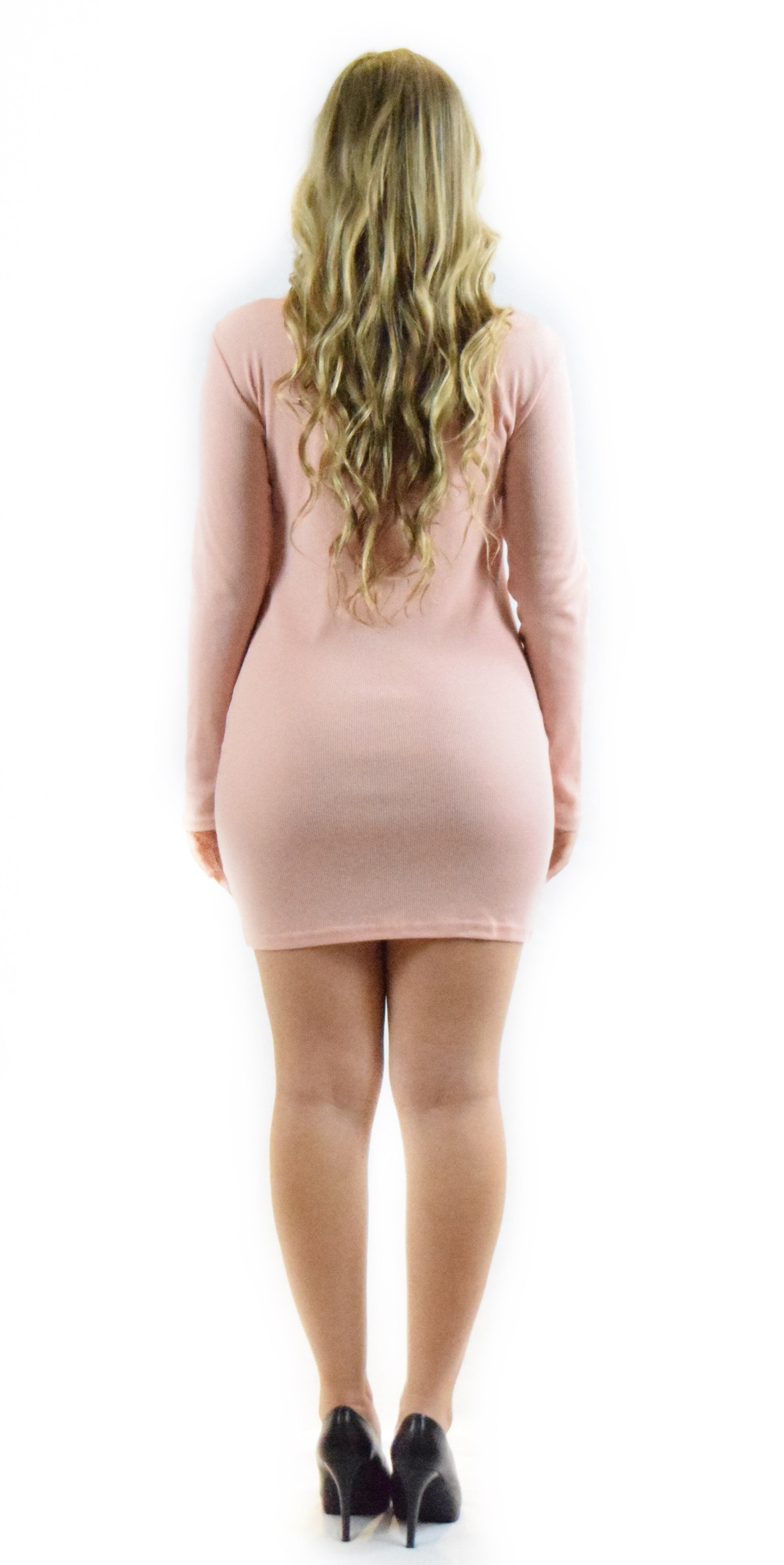 Pink Long Sleeve Zipper Dress