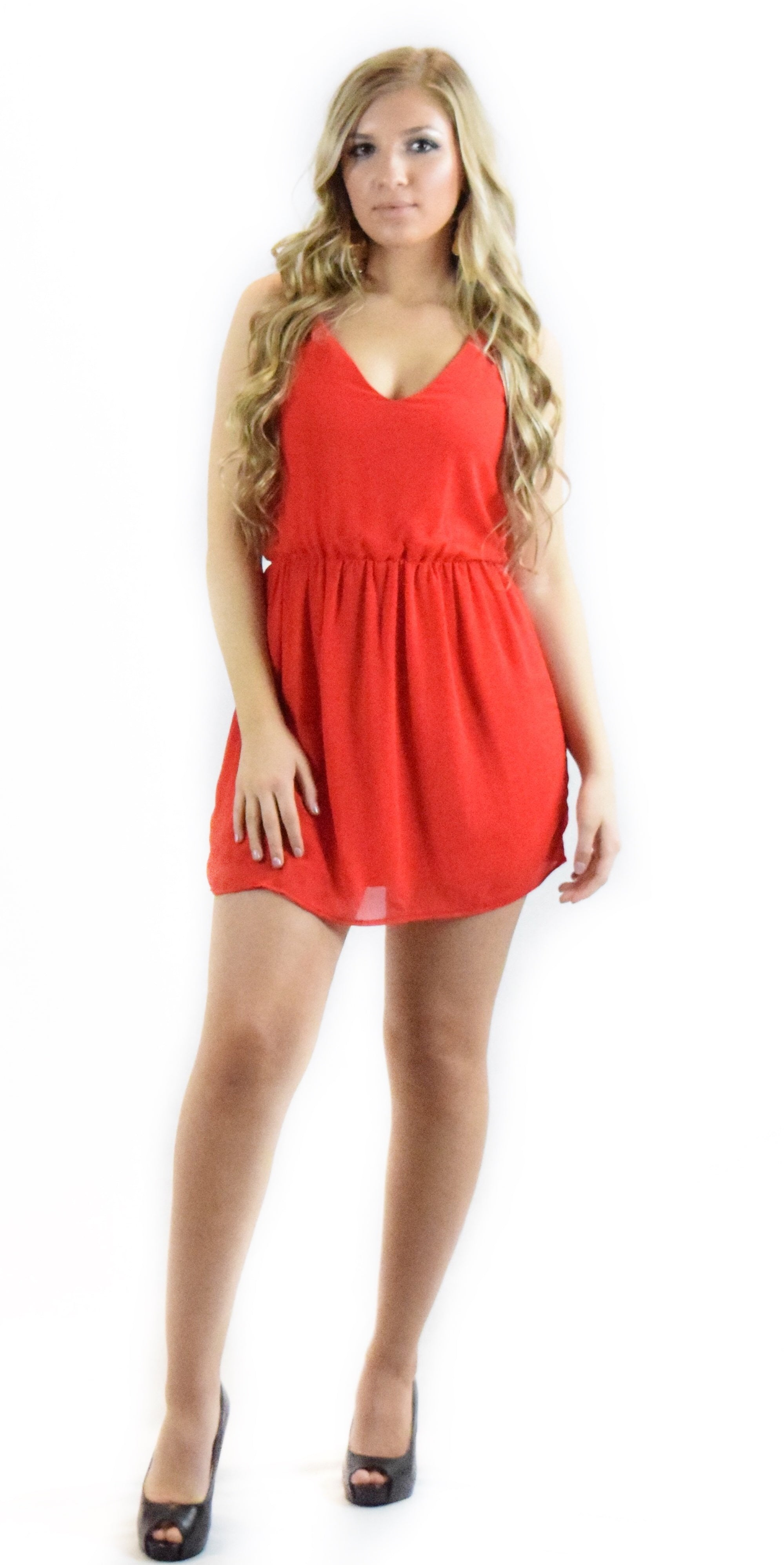 red chiffon dress summer cute flirty vacation comfortable fashion clothing woman trending style