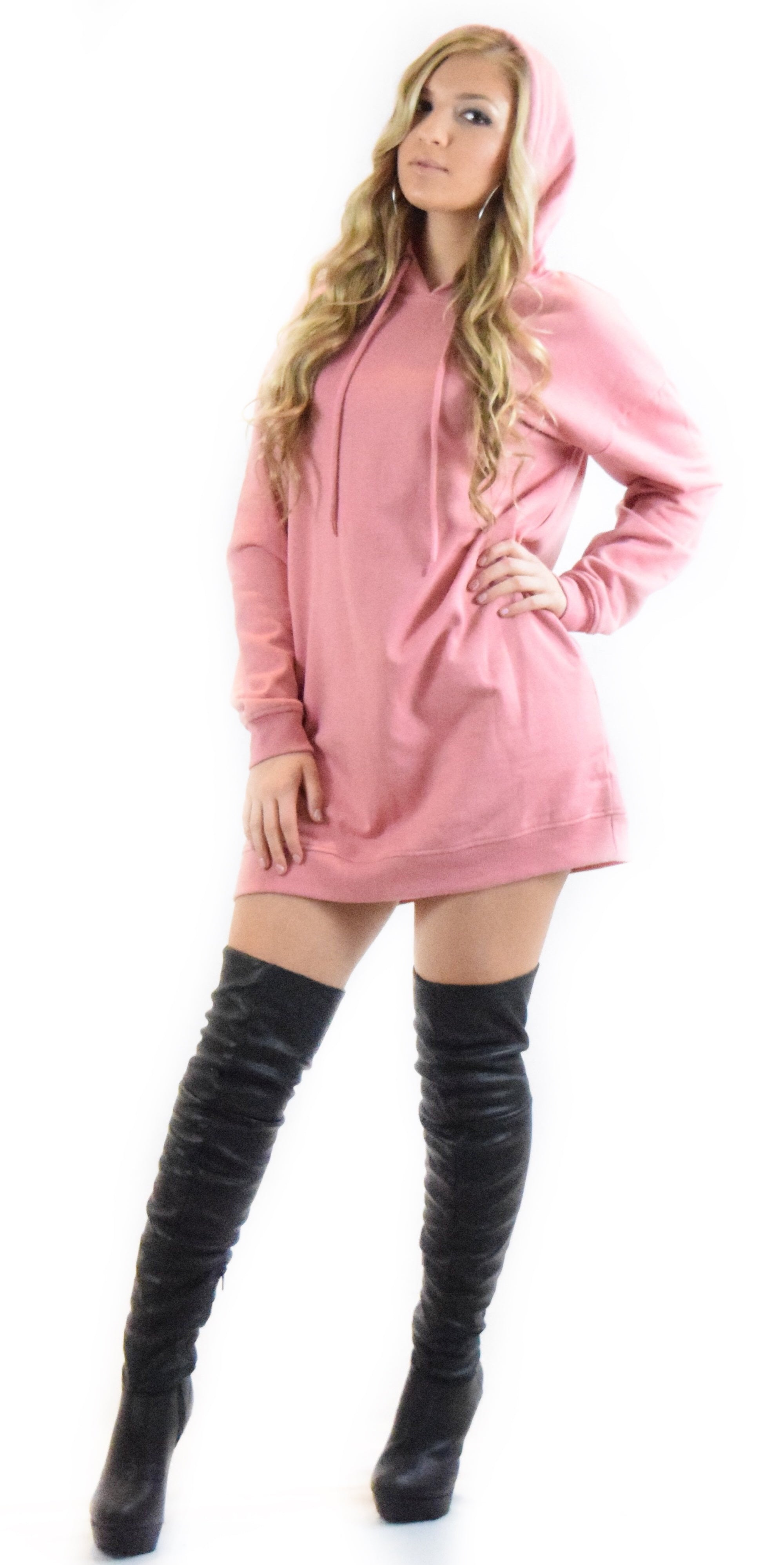 sweater hoodie dress dusty rose pink loose fit oversized long sleeve strings pocket style trend trending woman girl teen clothing fashion