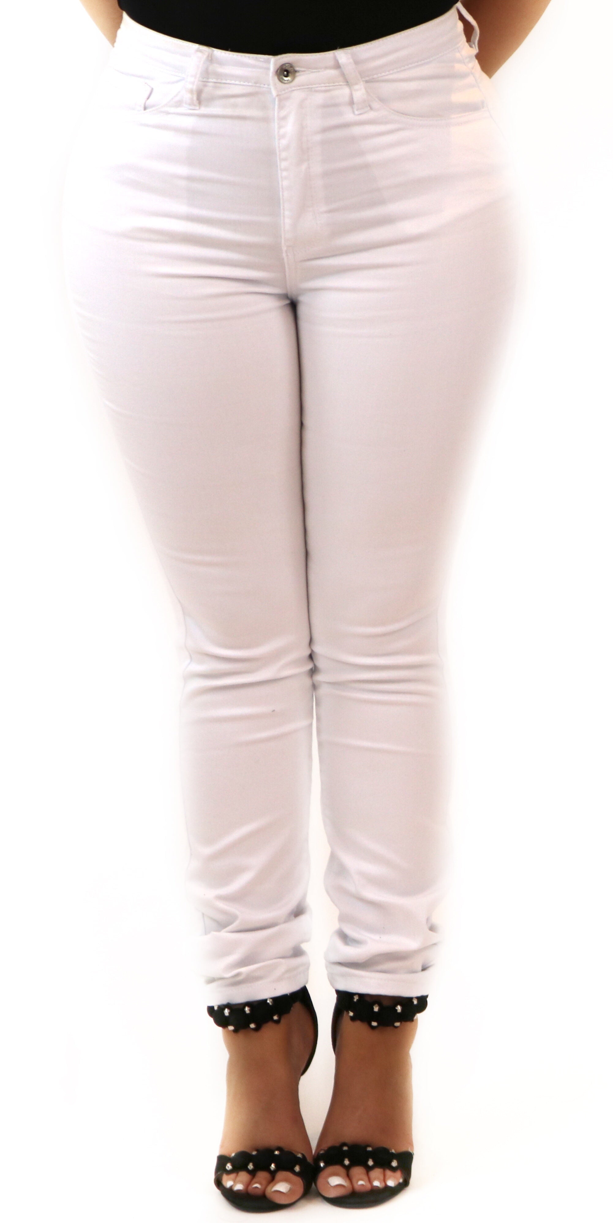 white classic skinny high waist jeans fashion clothes clothing trend style