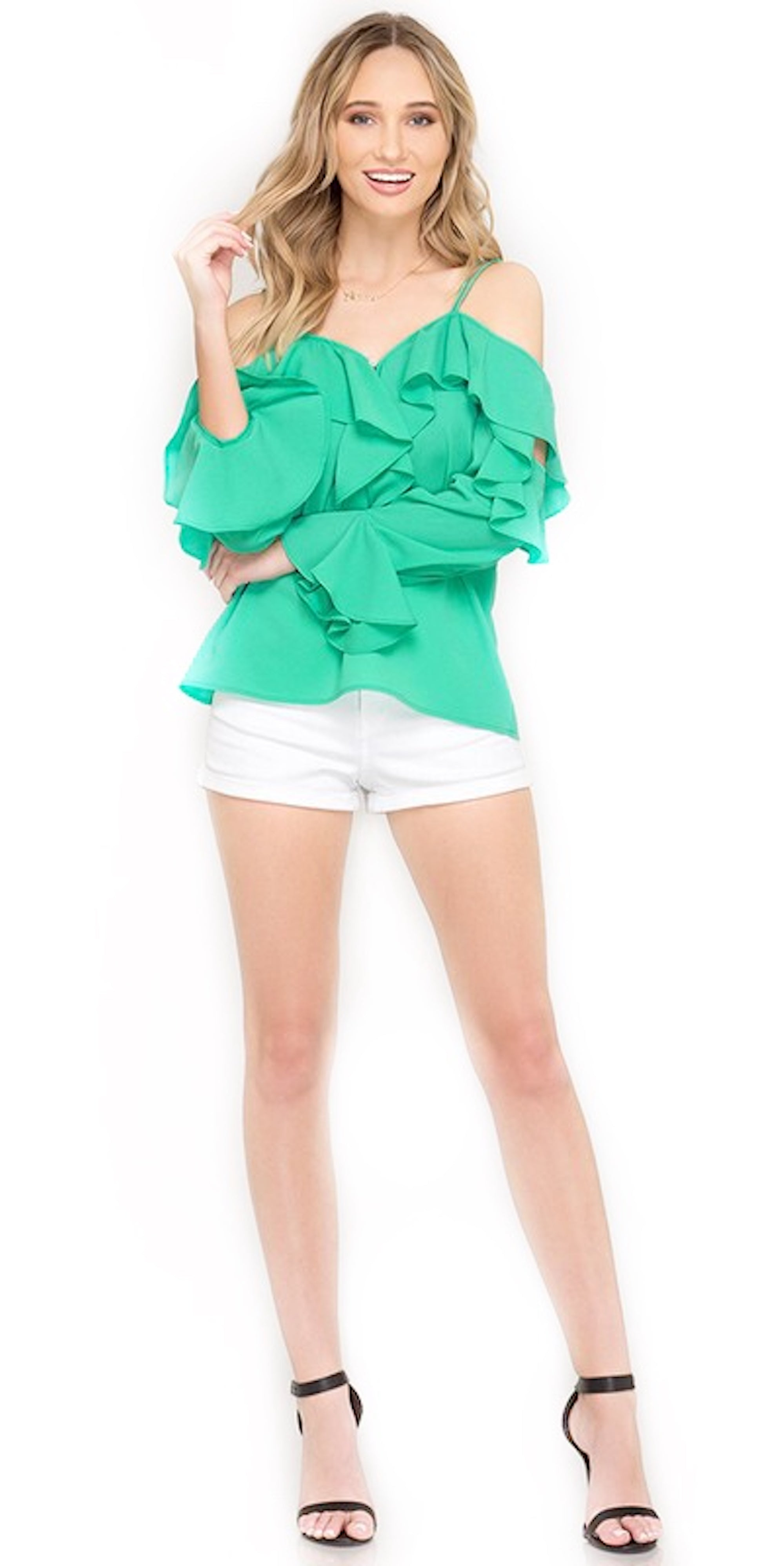 jade green ruffle long sleeve top trends style fashion clothes clothing