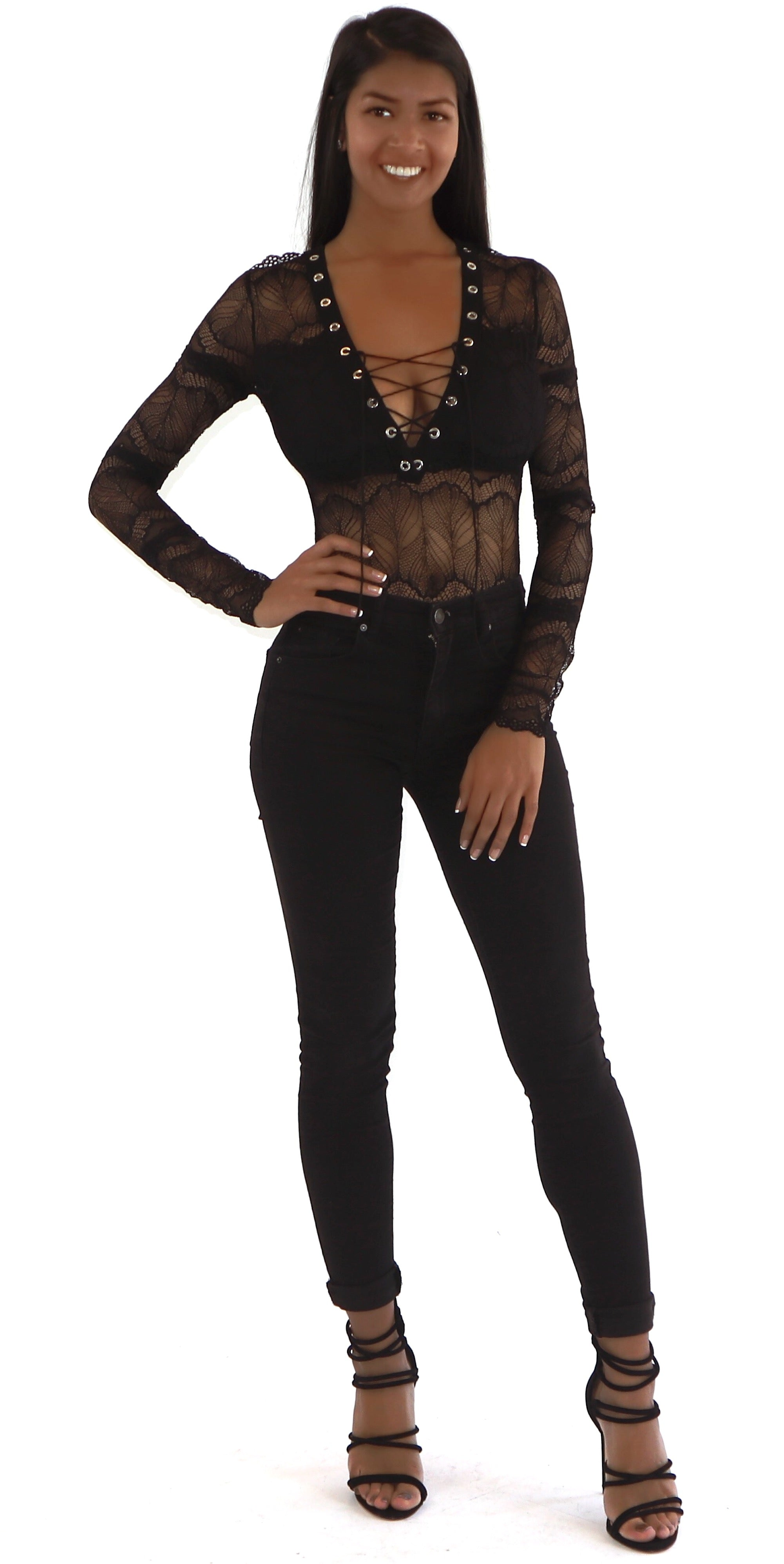 long sleeve lace up lace bodysuit black trends style fashion clothes clothing