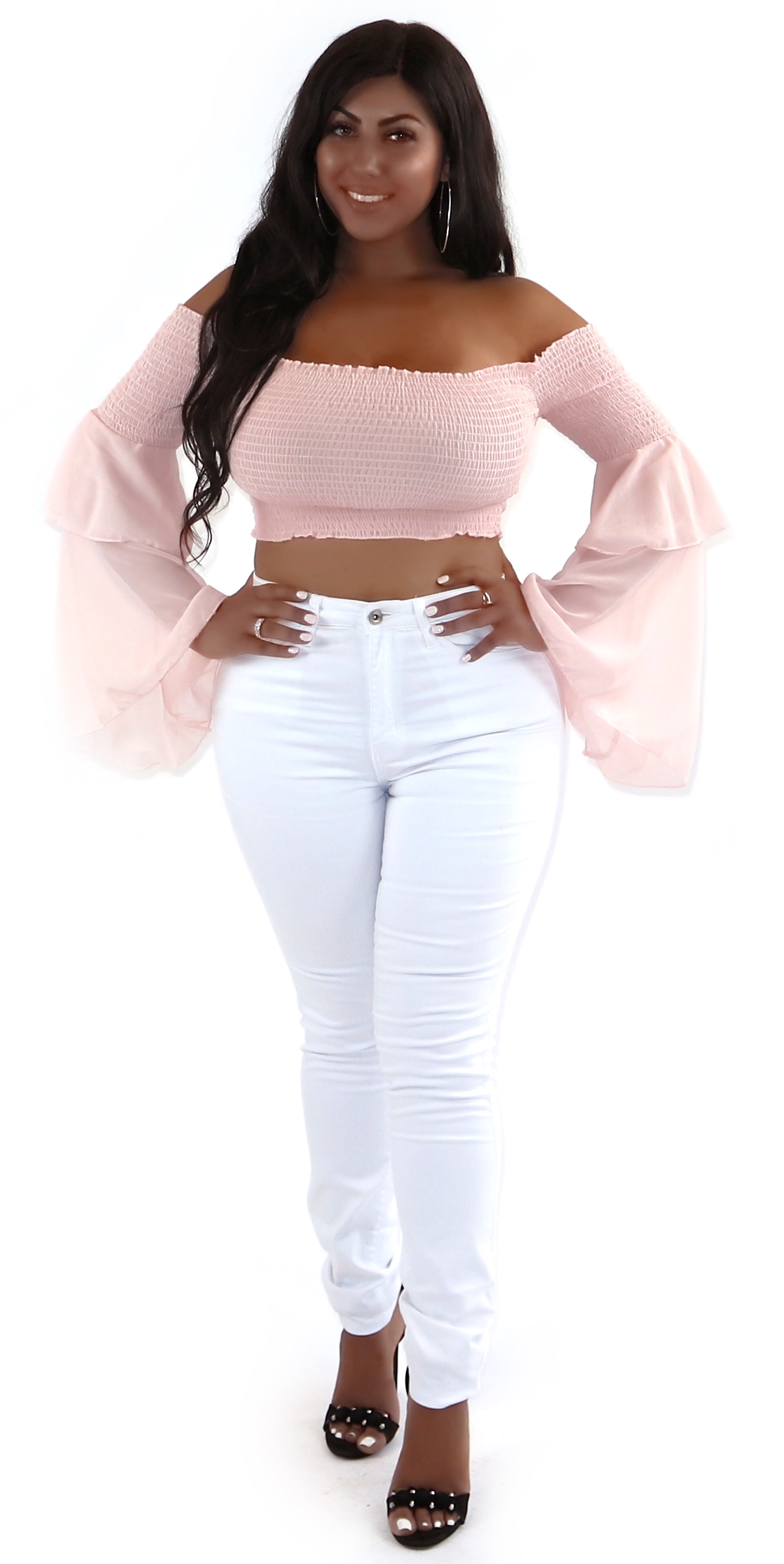 off shoulder blush pink crop top ruffle bell sleeves sheer fashion trends clothes clothing styles